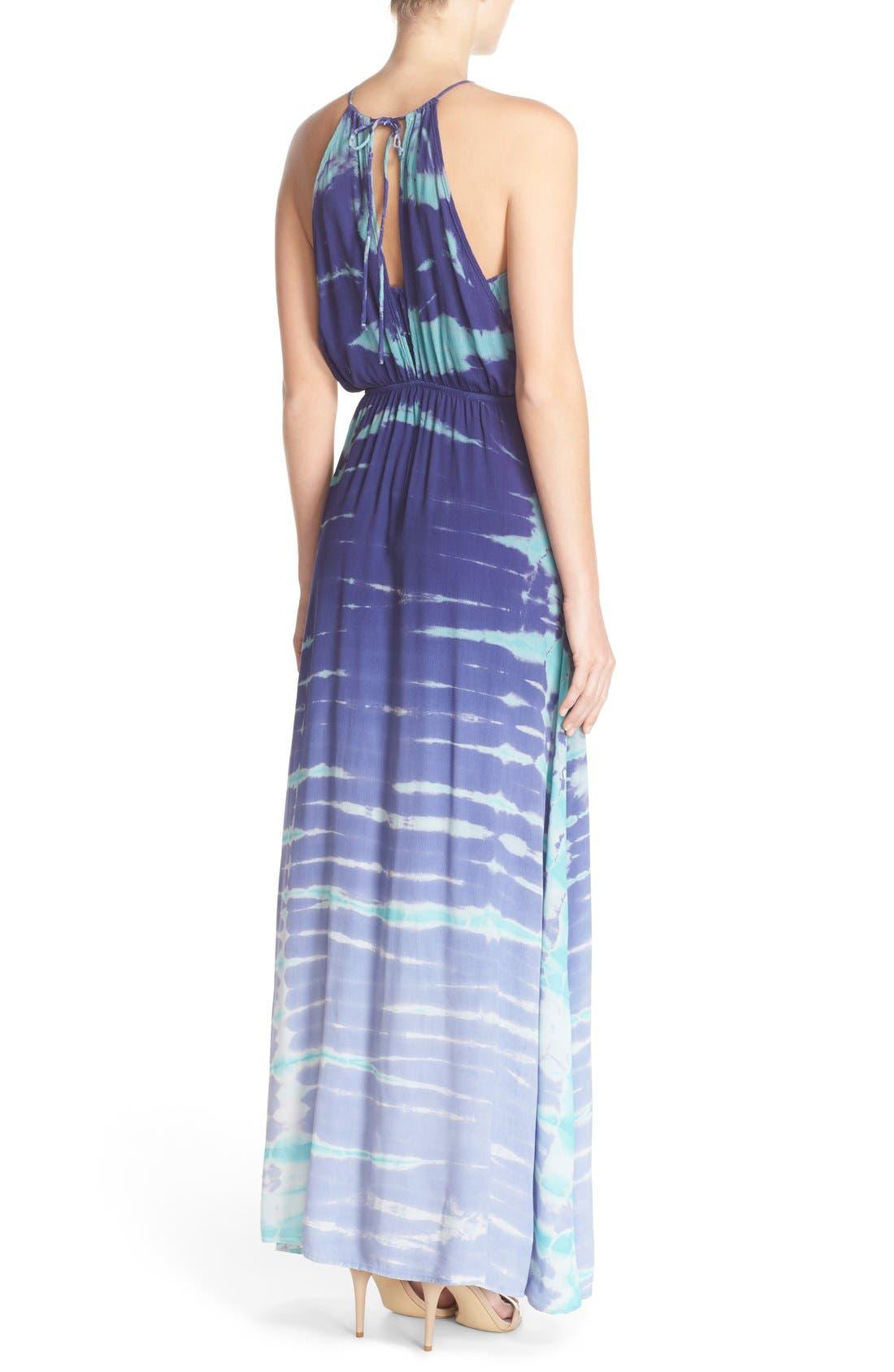 Tie Dye Crepe Maxi Dress,                             Alternate thumbnail 2, color,                             Navy Special