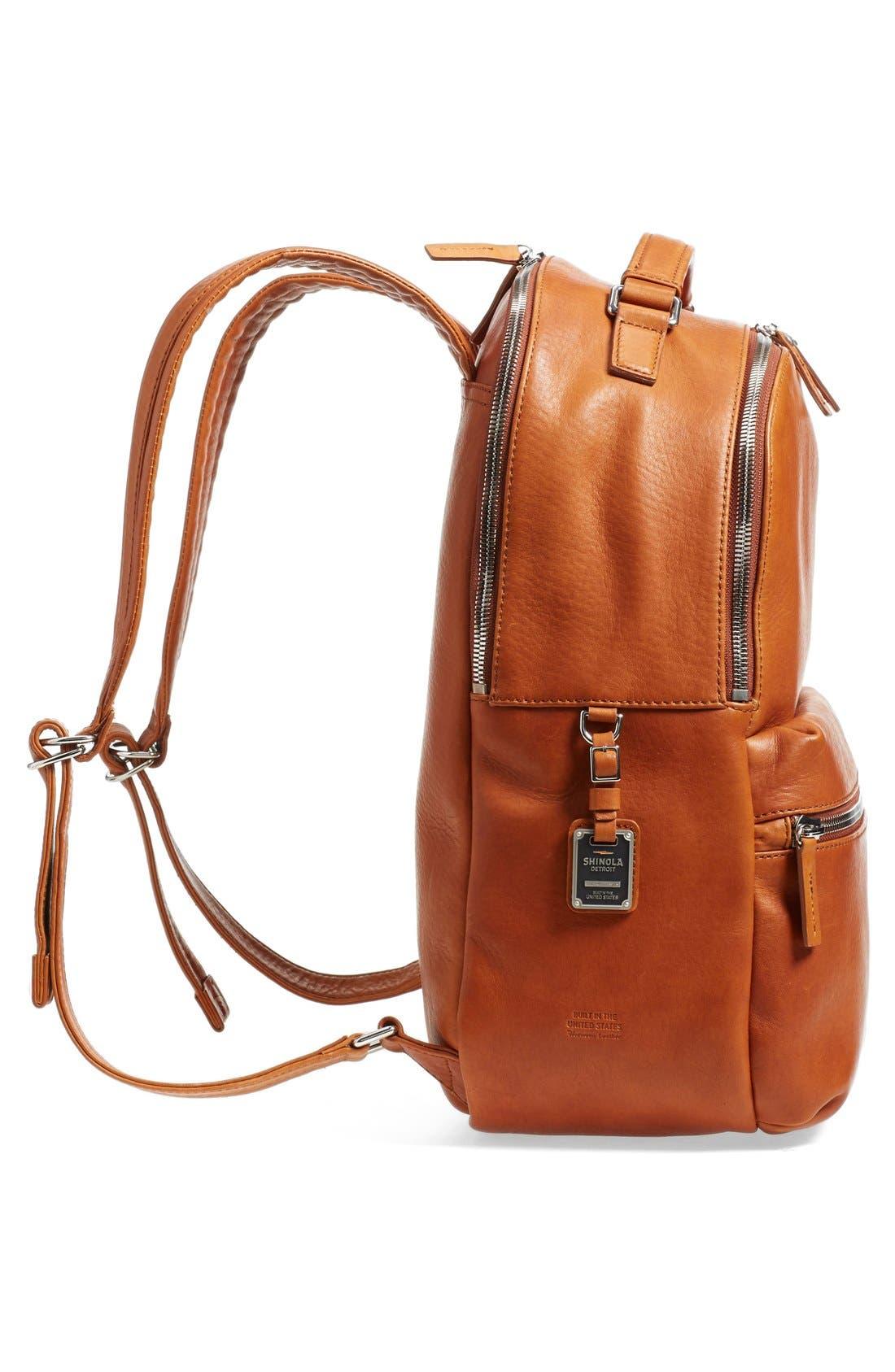 Runwell Leather Laptop Backpack,                             Alternate thumbnail 5, color,                             Bourbon