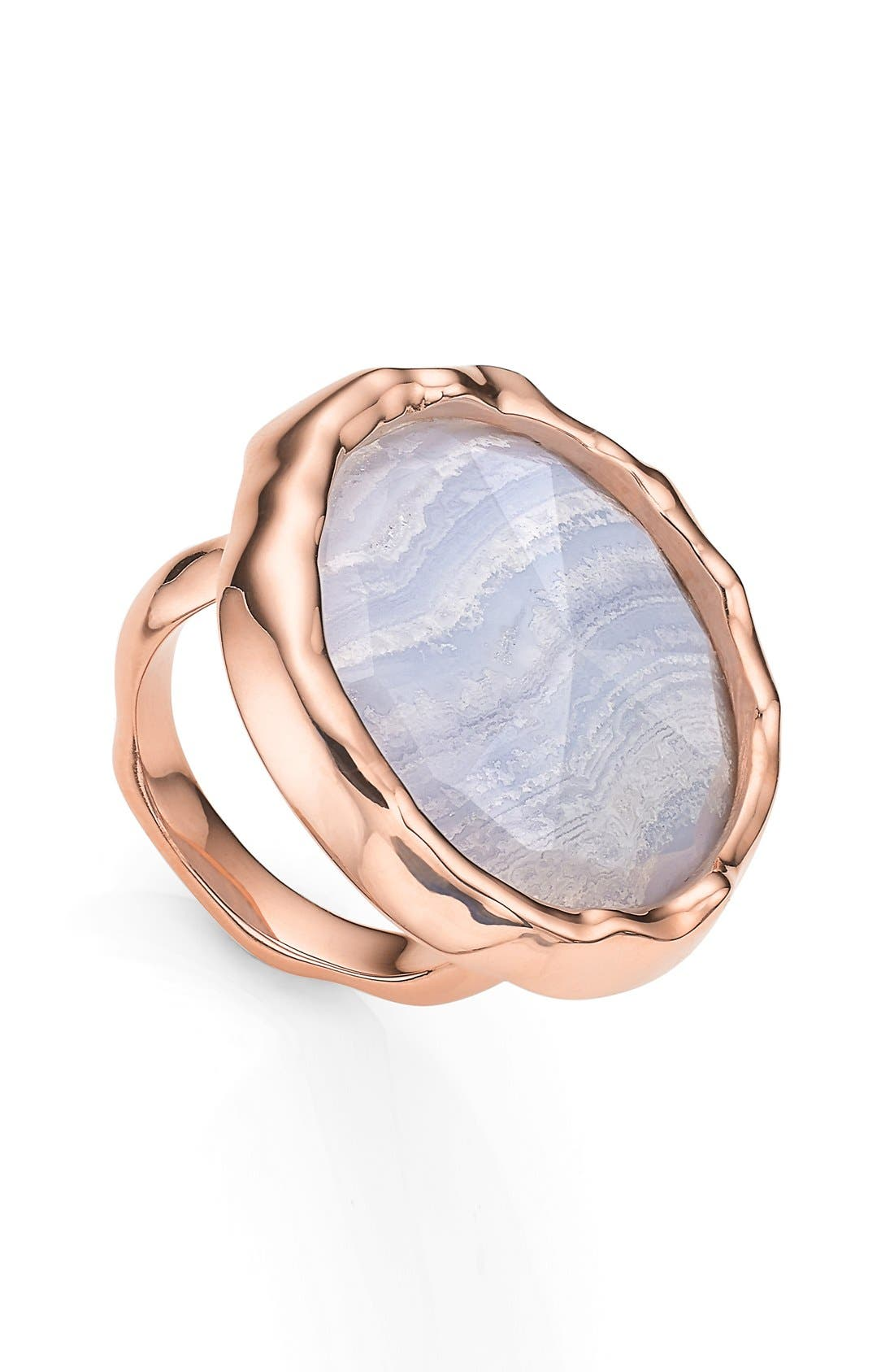 'Siren' Semiprecious Stone Ring,                             Main thumbnail 1, color,                             Blue Lace Agate/ Rose Gold