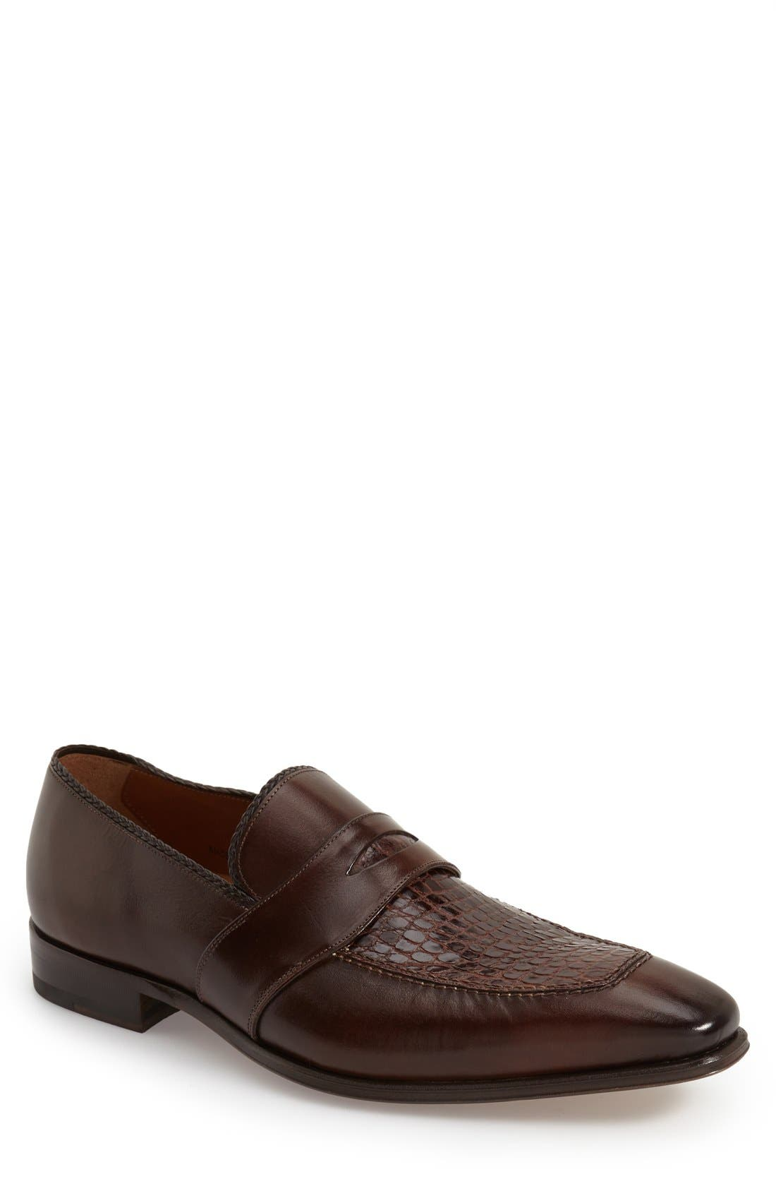 'Lambert' Penny Loafer,                             Main thumbnail 1, color,                             Brown Crocodile Leather