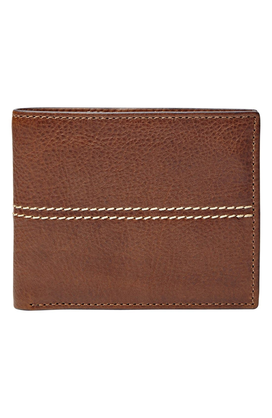 'Turk' Leather RFID Wallet,                             Main thumbnail 1, color,                             Brown