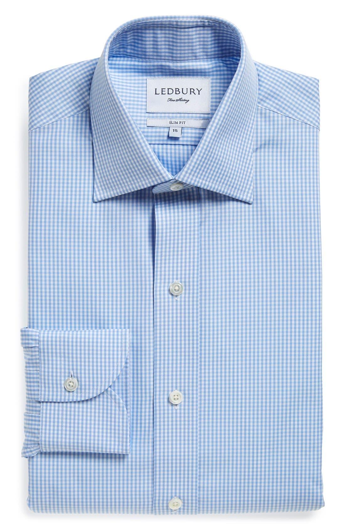 'Blue Gingham' Slim Fit Check Dress Shirt,                             Main thumbnail 1, color,                             Blue