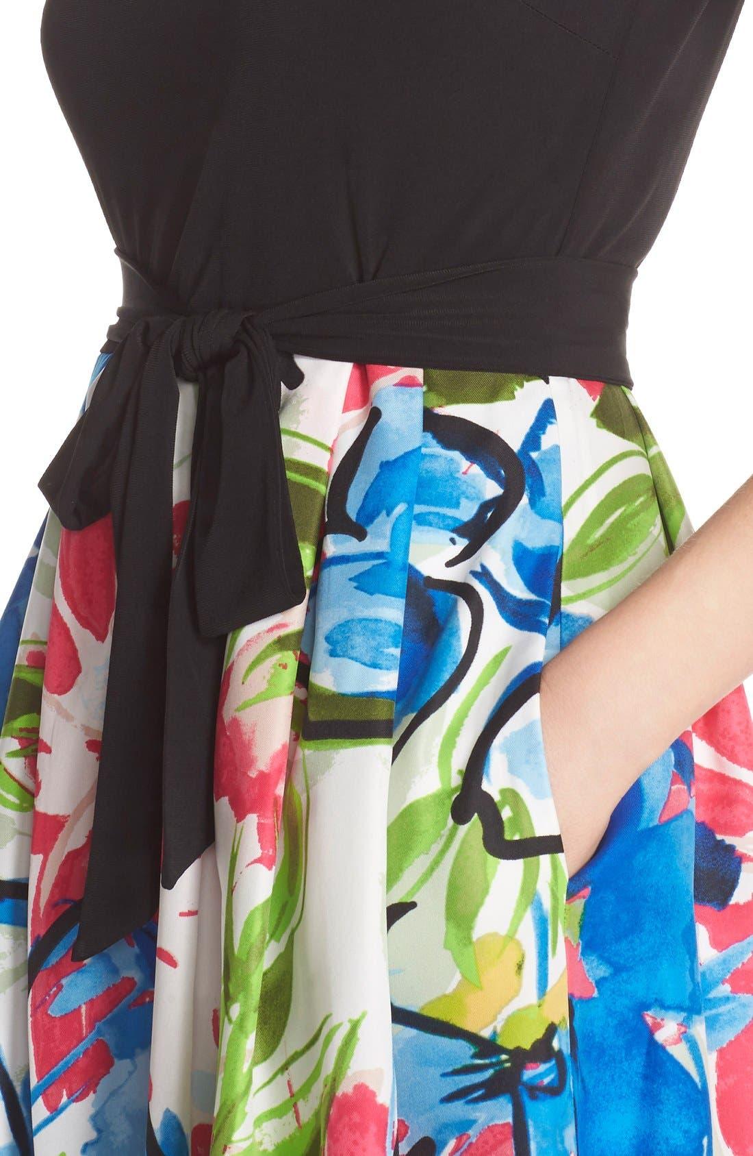 Alternate Image 5  - Ellen Tracy Mixed Media Fit & Flare Dress