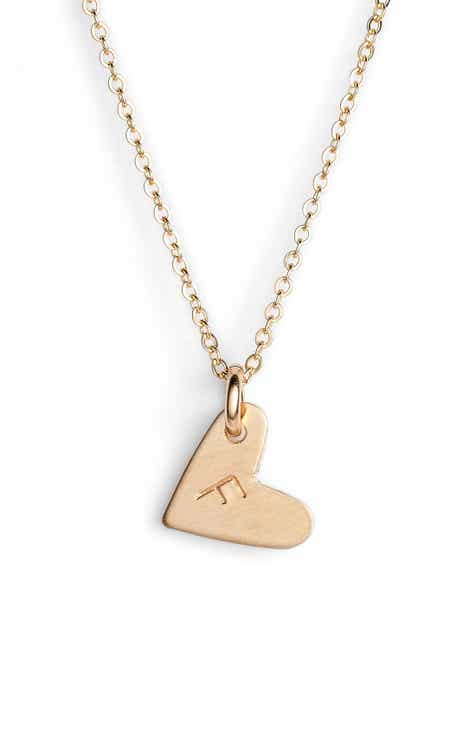 necklace sr nashelle gold initial mini pendant heart fill