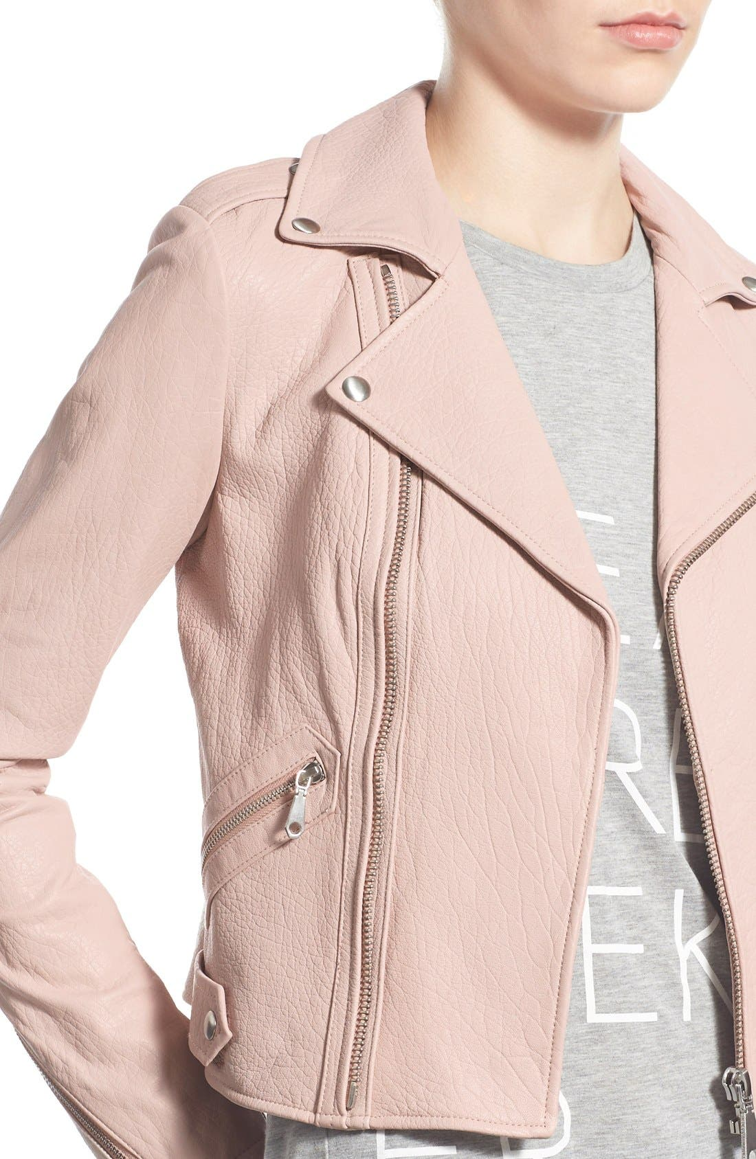 Pebble Leather Jacket,                             Alternate thumbnail 4, color,                             Nude Pink