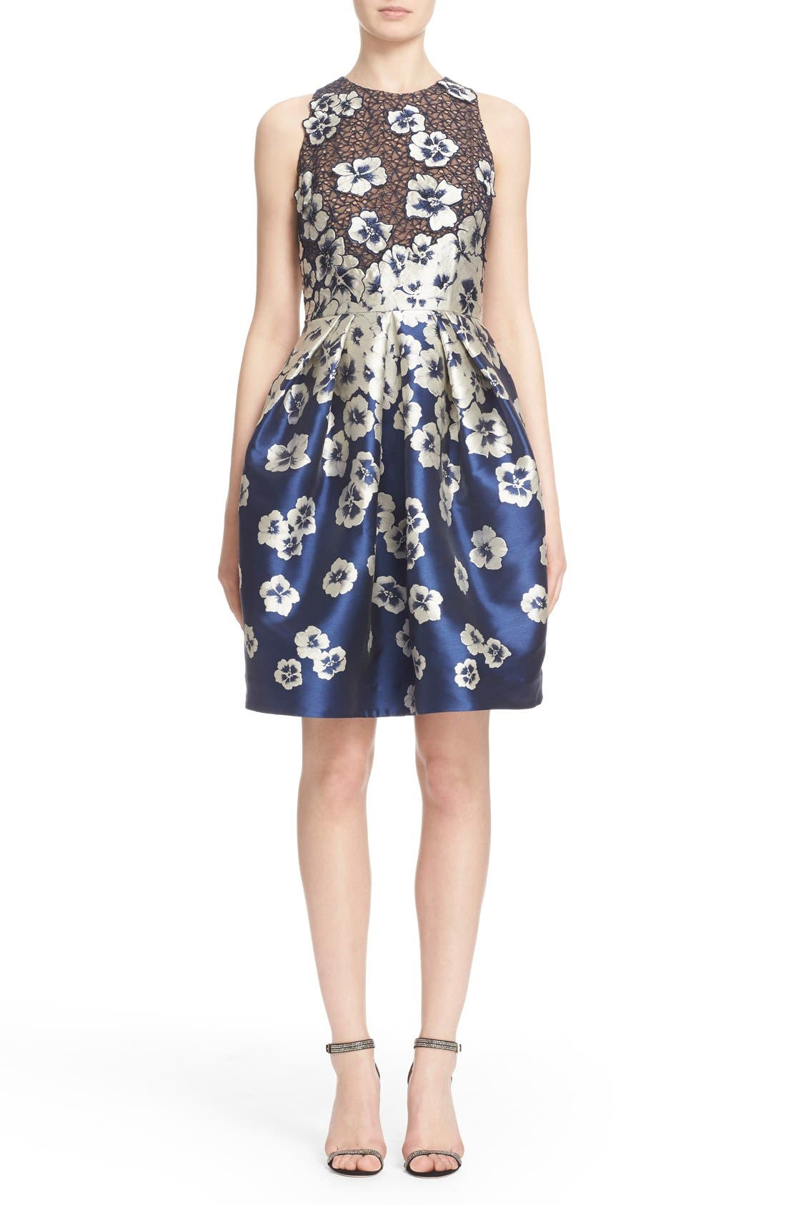 Carmen Marc Valvo Couture Floral Appliqué Cutaway Cocktail Dress