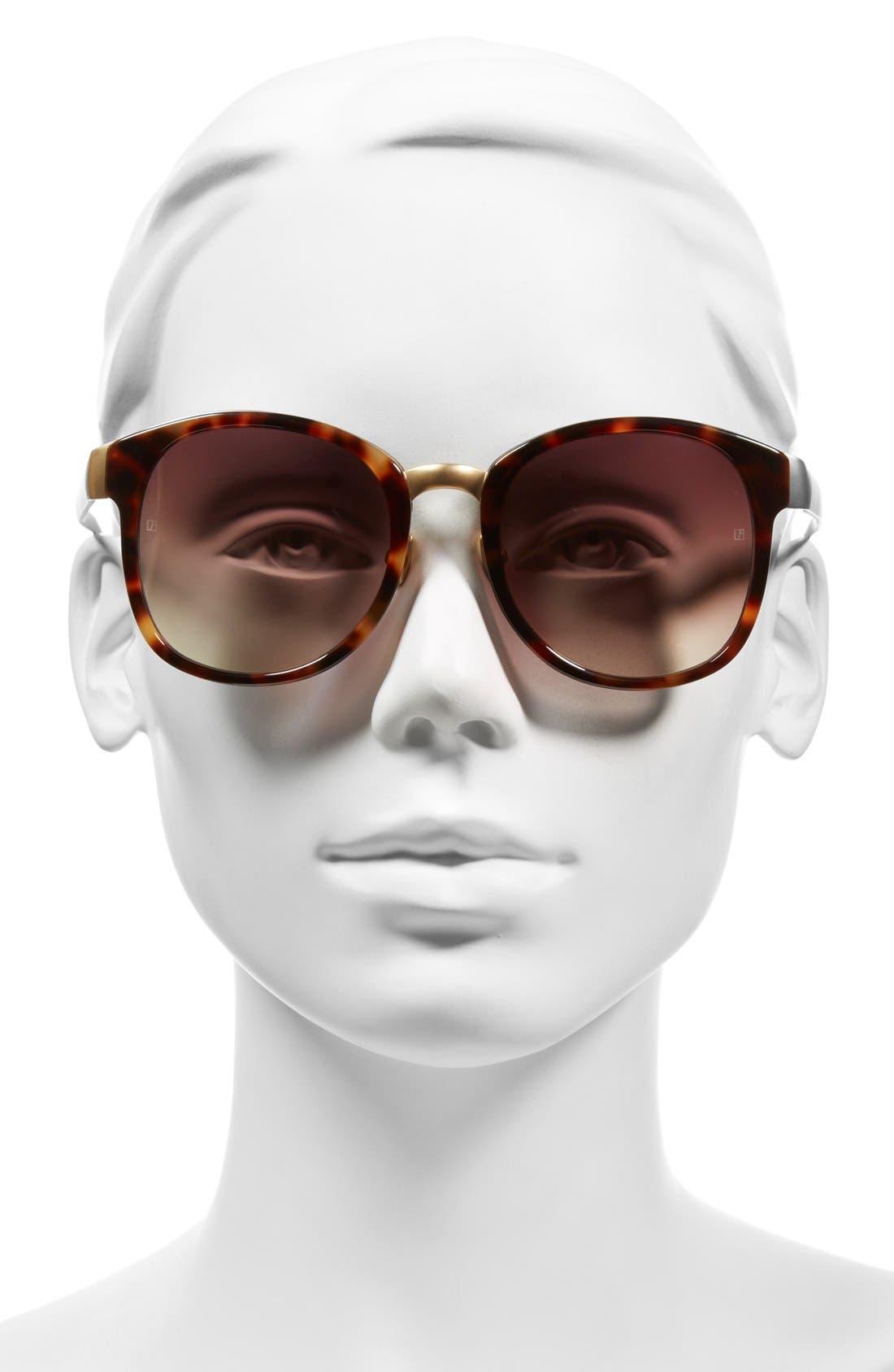 D-Frame 52mm 24 Karat Gold Trim Sunglasses,                             Alternate thumbnail 2, color,                             Tortoise/ Brown Grad