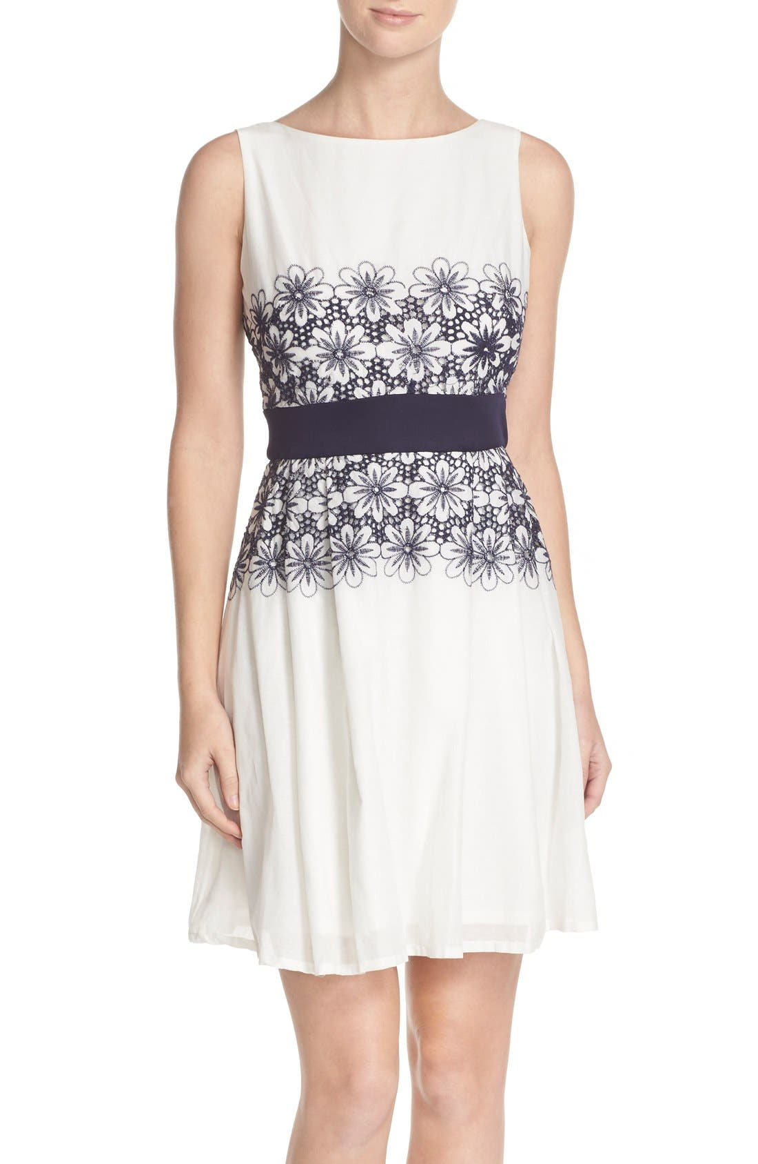 Alternate Image 1 Selected - Taylor Dresses Embroidered Fit & Flare Dress
