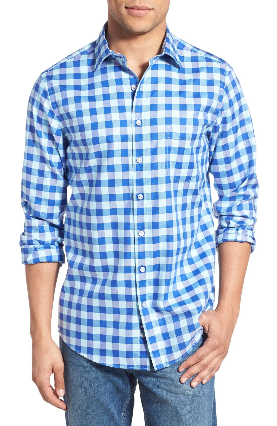 'Branston' Sports Fit Check Sport Shirt,                             Main thumbnail 1, color,                             Sky