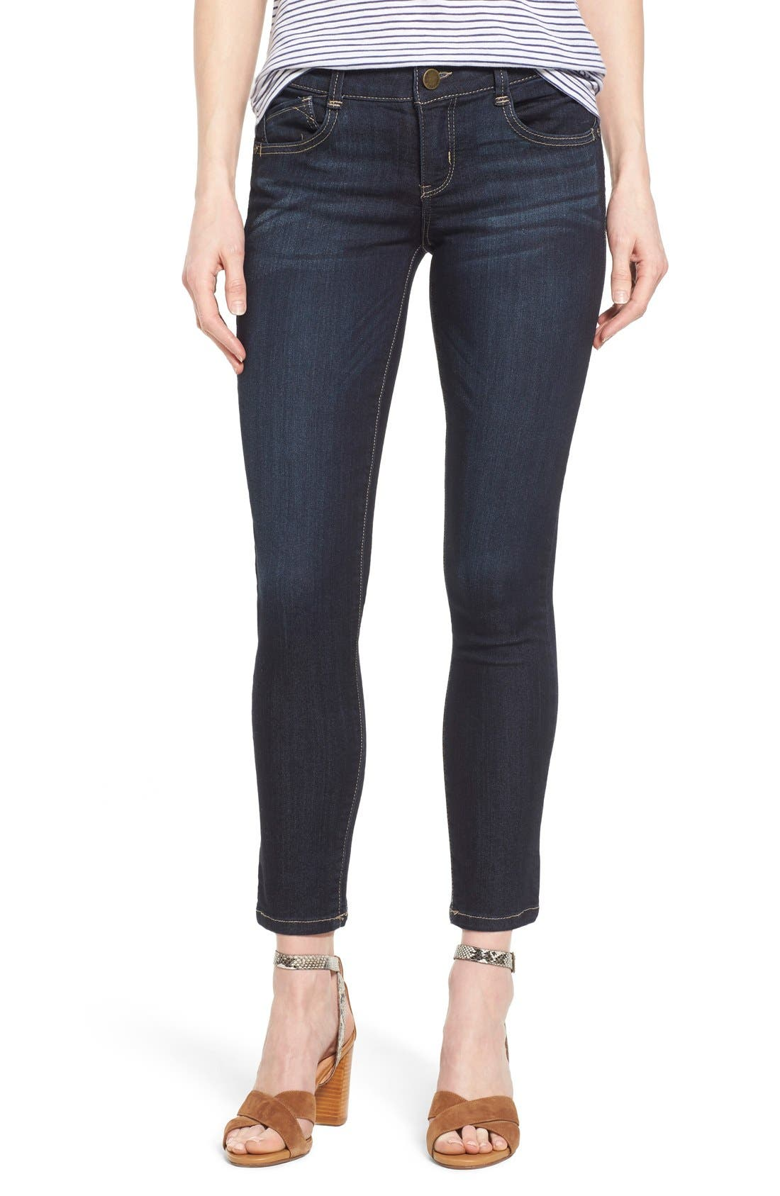 'Ab Solution' Stretch Ankle Skinny Jeans,                         Main,                         color, Indigo
