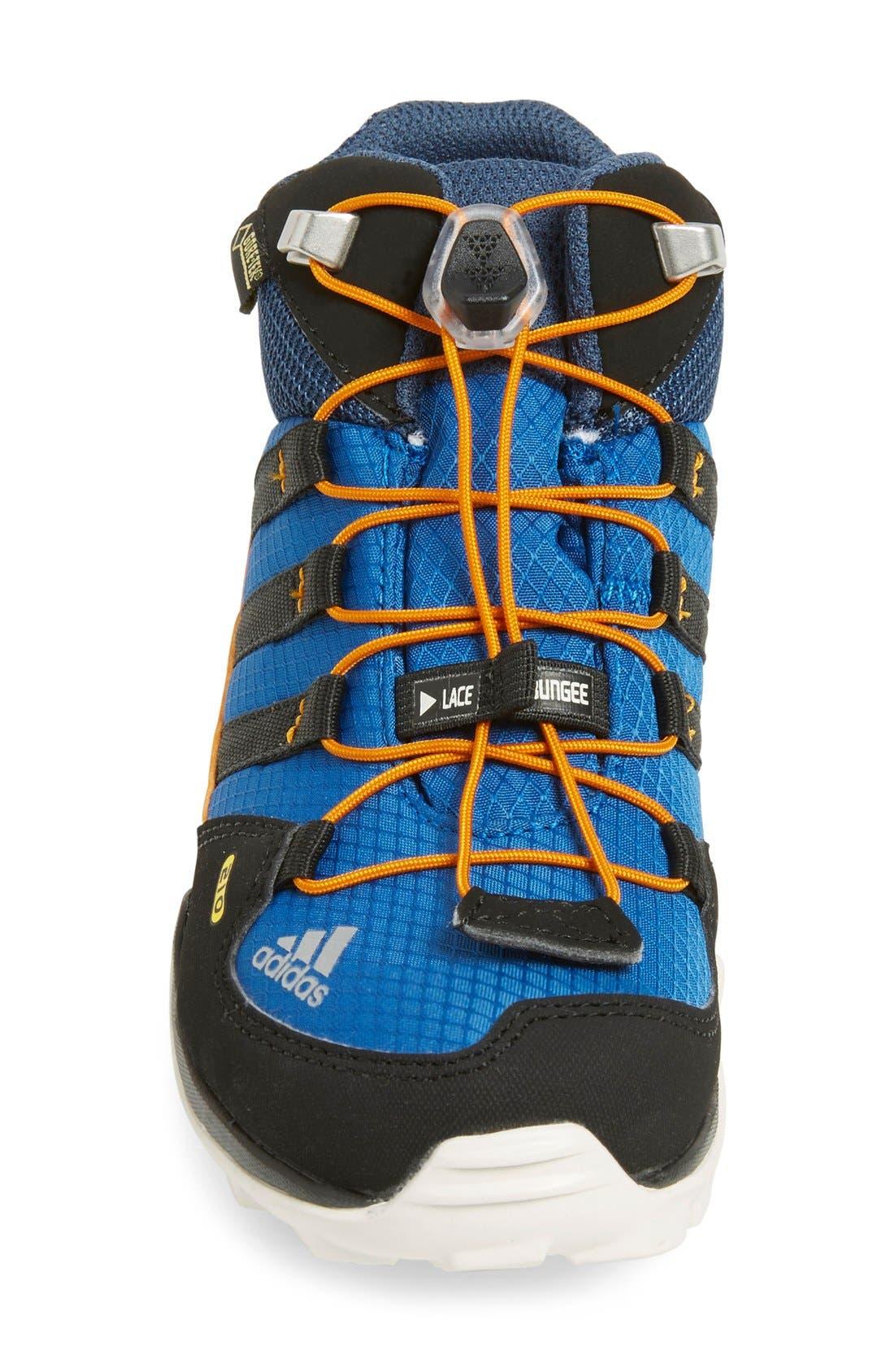 'Terrex Mid Gore-Tex' Hiking Shoe,                             Alternate thumbnail 3, color,                             Blue/ Black/ Orange