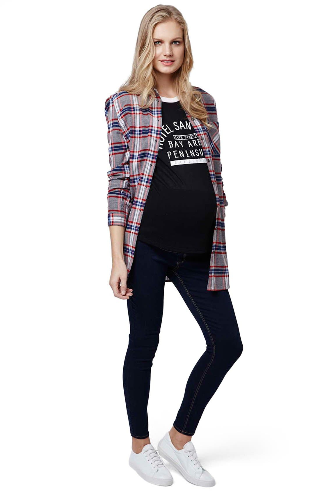 Alternate Image 2  - Topshop 'Boxing Day' Check Plaid Maternity Shirt