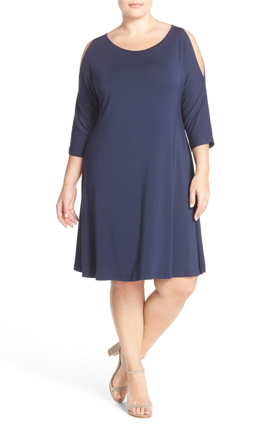 Tart 'Naya' Cold Shoulder A-Line Dress (Plus Size)