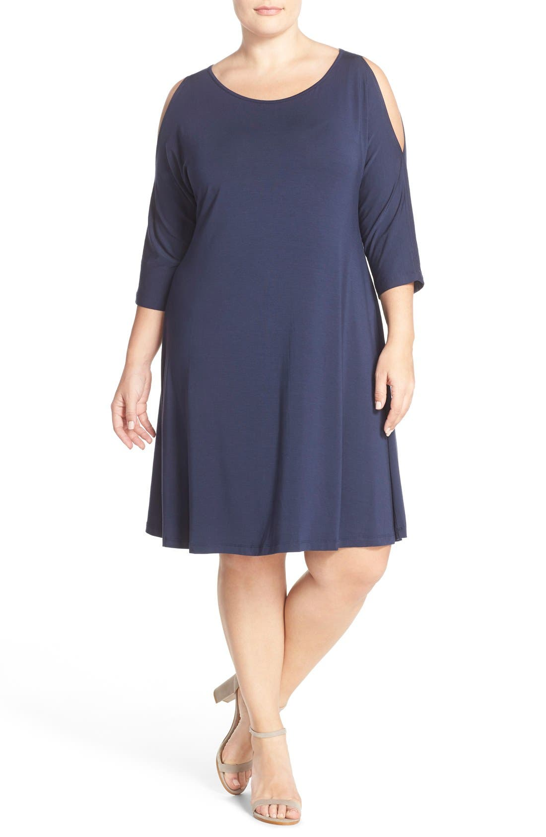 Tart 'Naya' Cold Shoulder A-Line Dress (Plus Size)