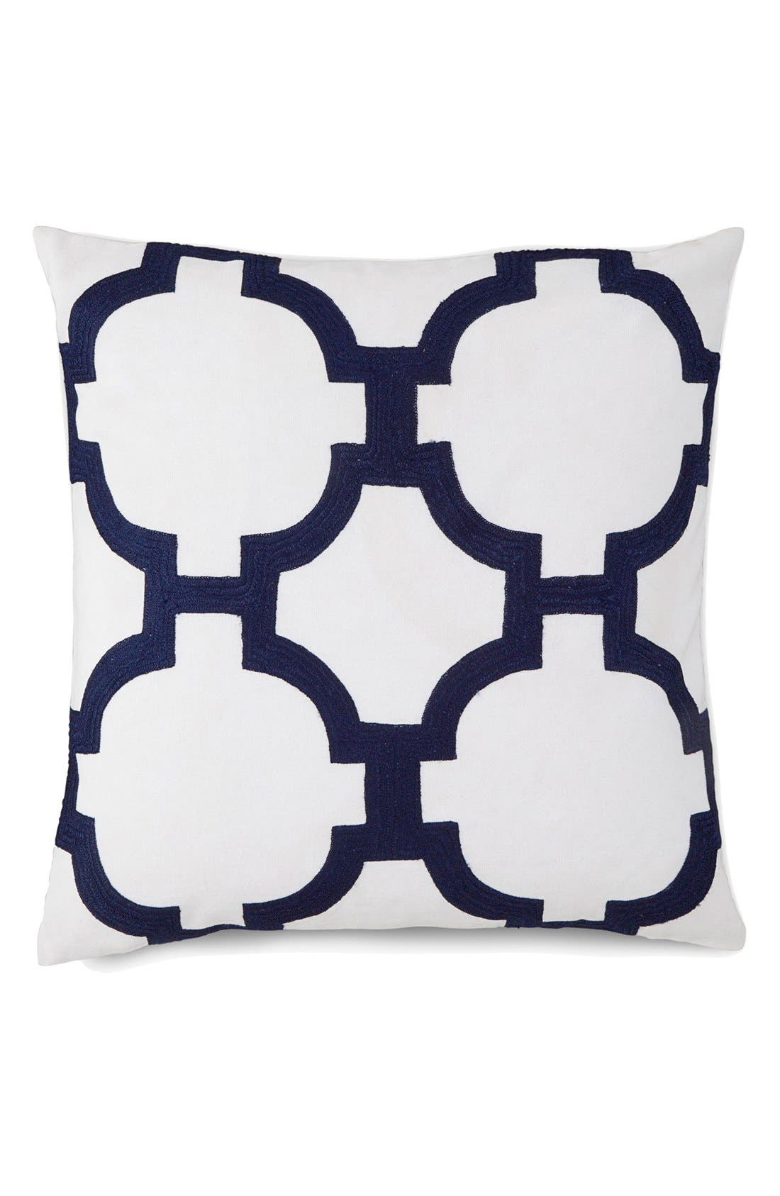 'Embroidered Links' Pillow,                         Main,                         color, White/ Navy