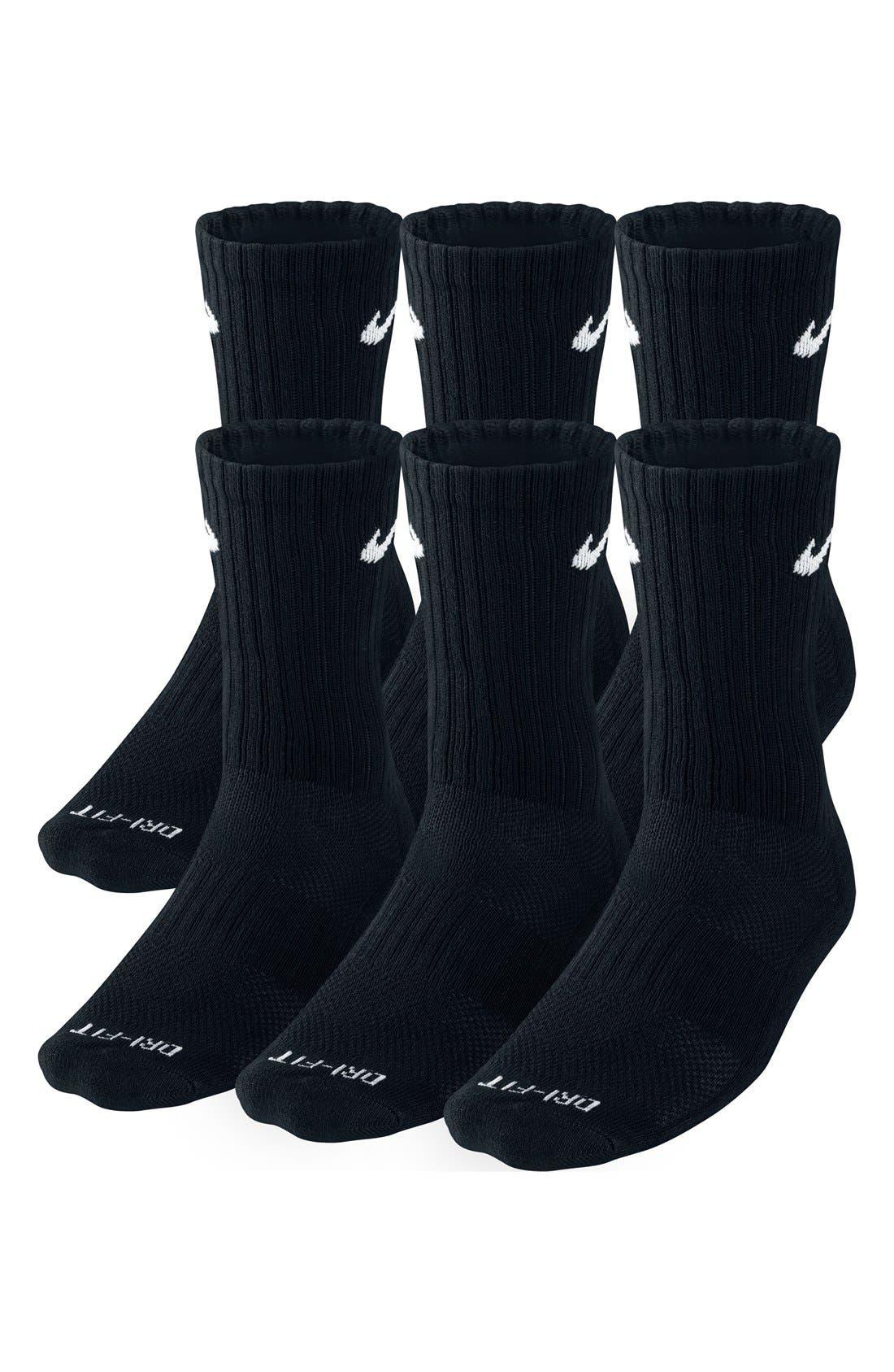 Dri-FIT Crew Socks,                             Main thumbnail 1, color,                             Black/ White