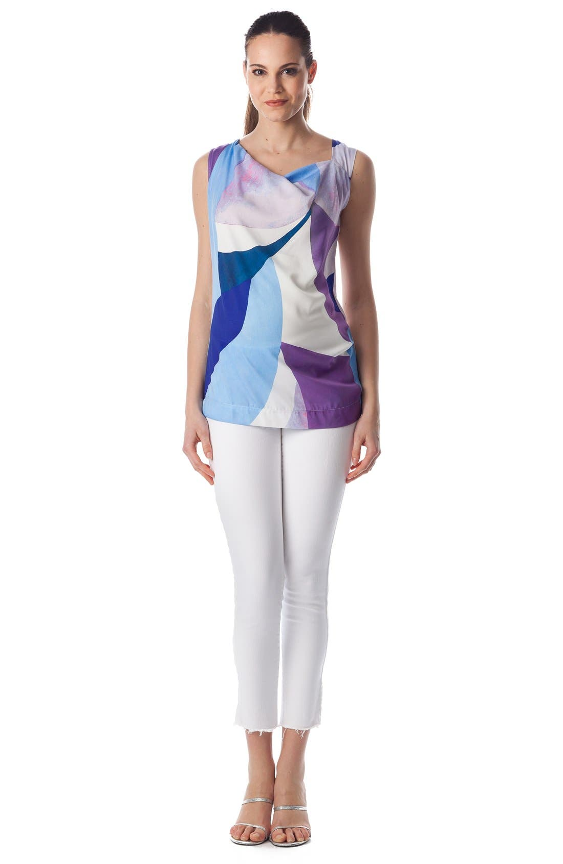 'Fialka' Graphic Maternity Top,                             Alternate thumbnail 5, color,                             Sky Surf/ White Jersey