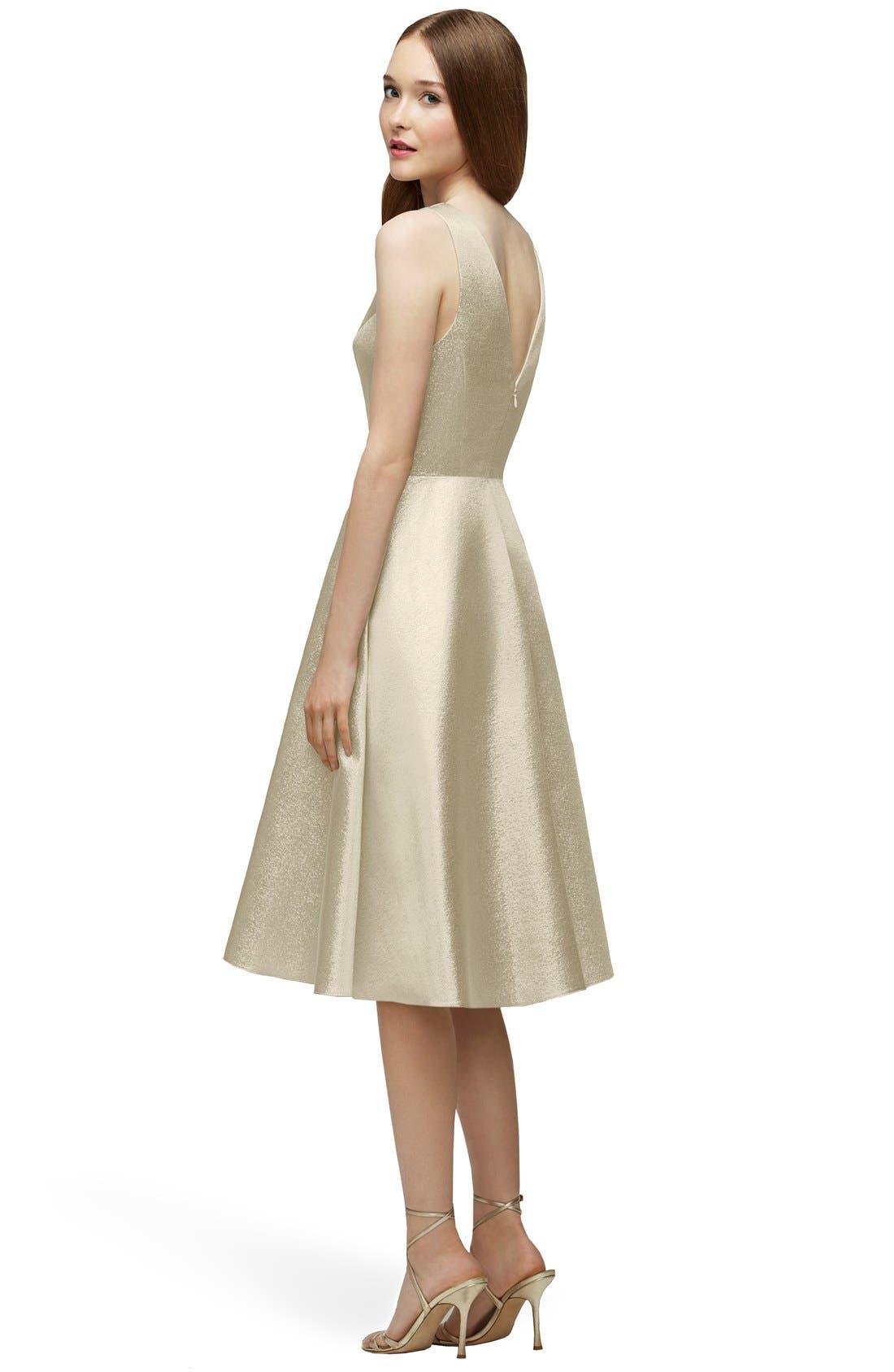 Alternate Image 2  - Lela Rose Bridesmaid V-Neck Metallic Fit & Flare Dress