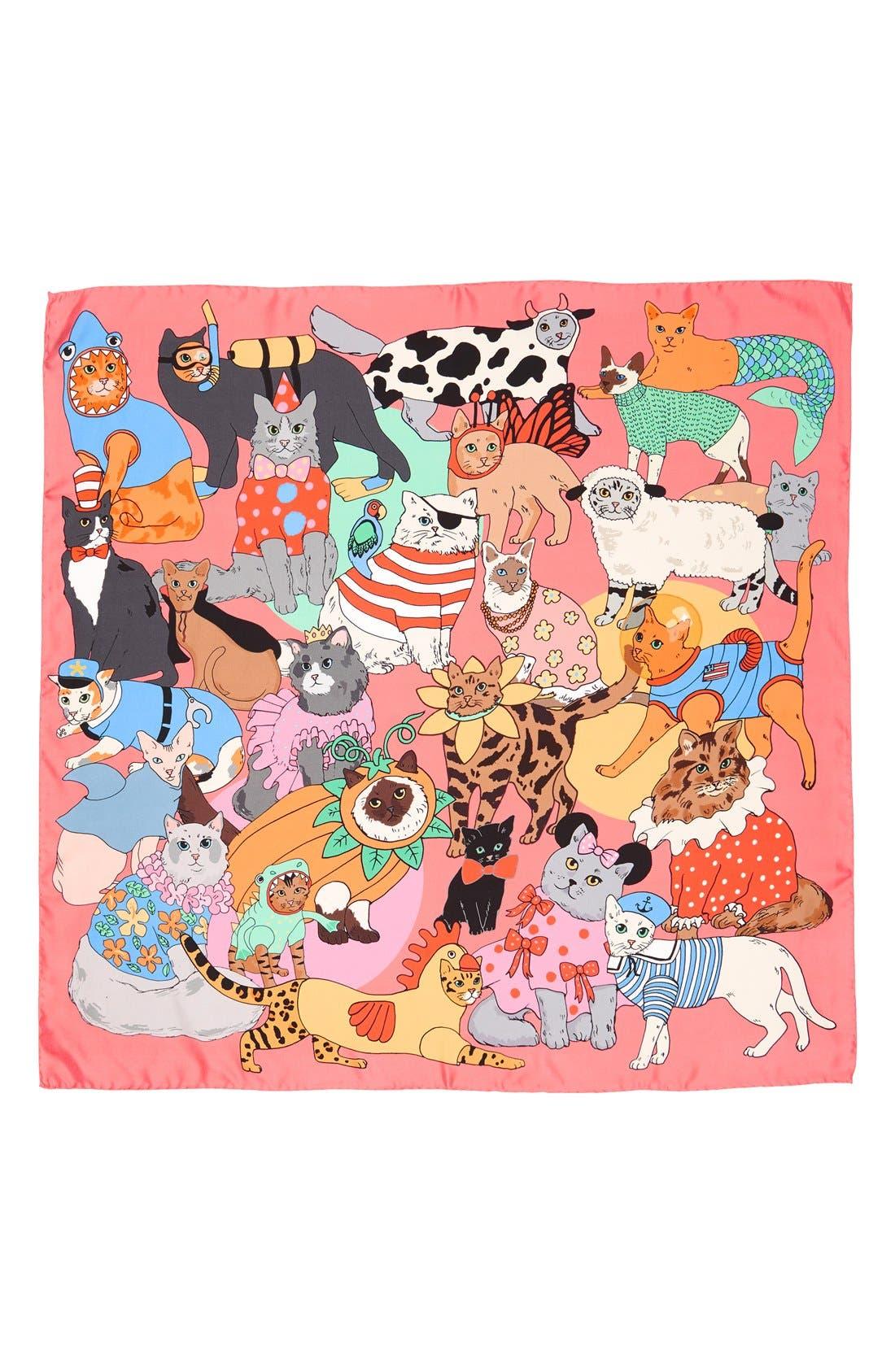Alternate Image 2  - Karen Mabon 'Fancy Dress Cats' Silk Square Scarf
