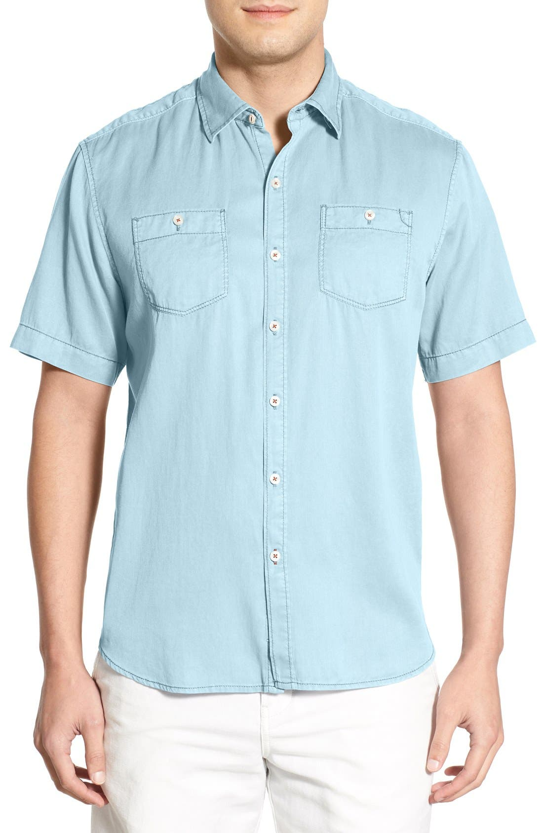 Alternate Image 1 Selected - Tommy Bahama 'New Twilly' Island Modern Fit Short Sleeve Twill Shirt