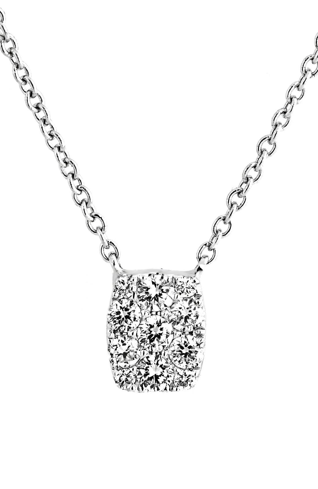 'Mika' Mini Rectangle Pavé Diamond Pendant Necklace,                         Main,                         color, White Gold