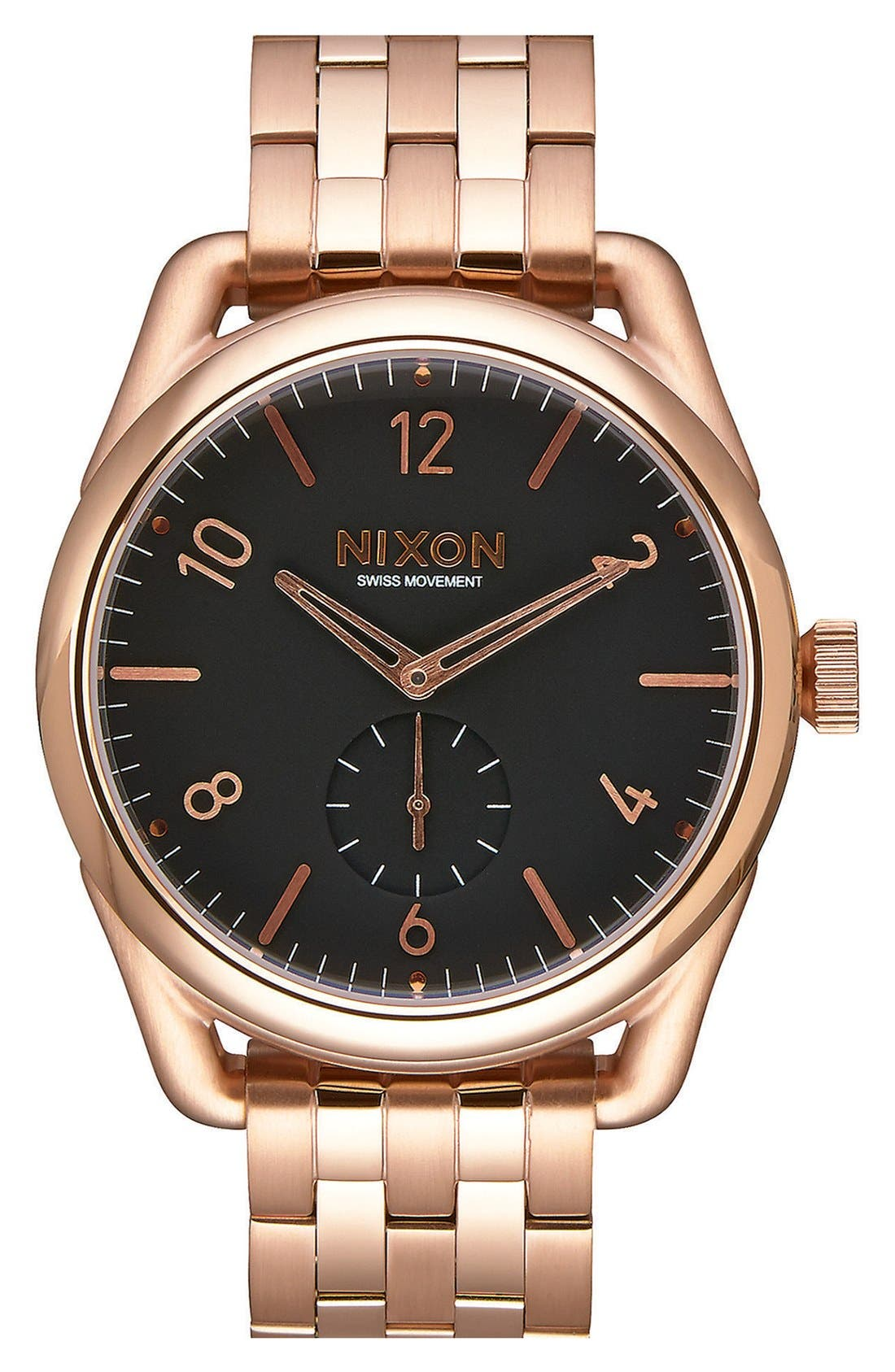 'C39' Bracelet Watch, 39mm,                             Main thumbnail 1, color,                             Rose Gold/ Black