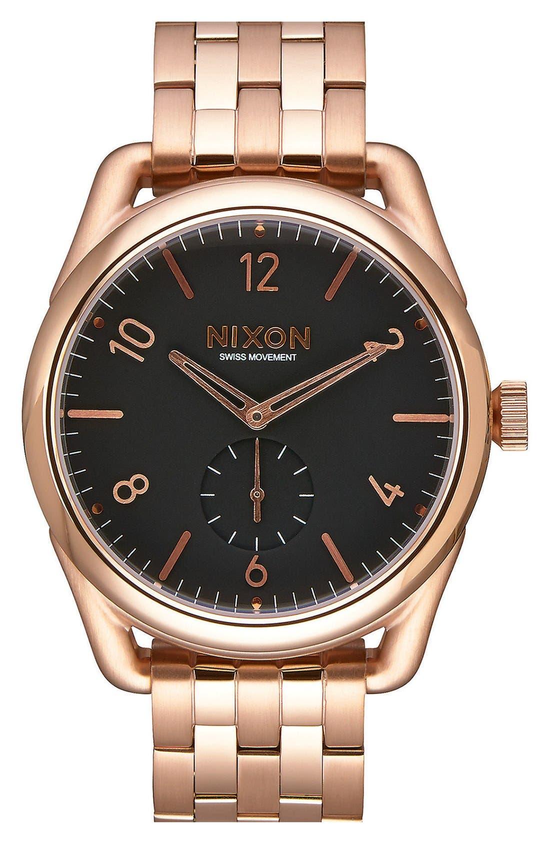 'C39' Bracelet Watch, 39mm,                         Main,                         color, Rose Gold/ Black