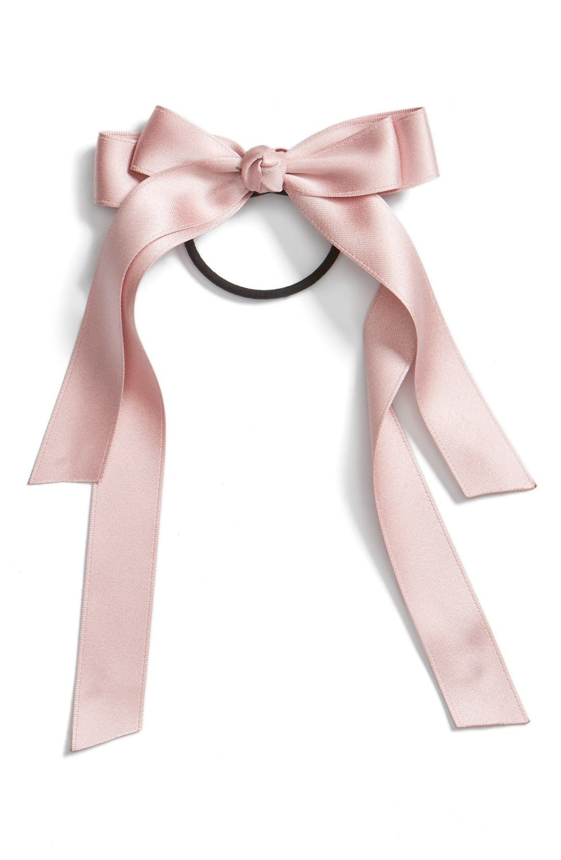 Alternate Image 1 Selected - Cara Satin Bow Ponytail Holder
