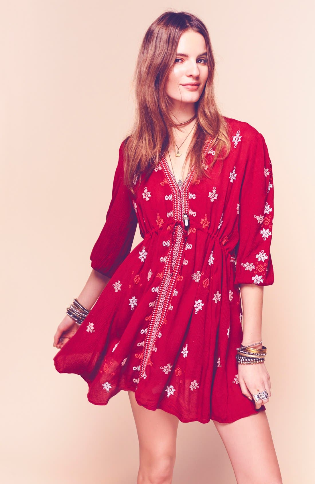 'Star Gazer' Embroidered Tunic Dress,                             Alternate thumbnail 2, color,                             Red Combo