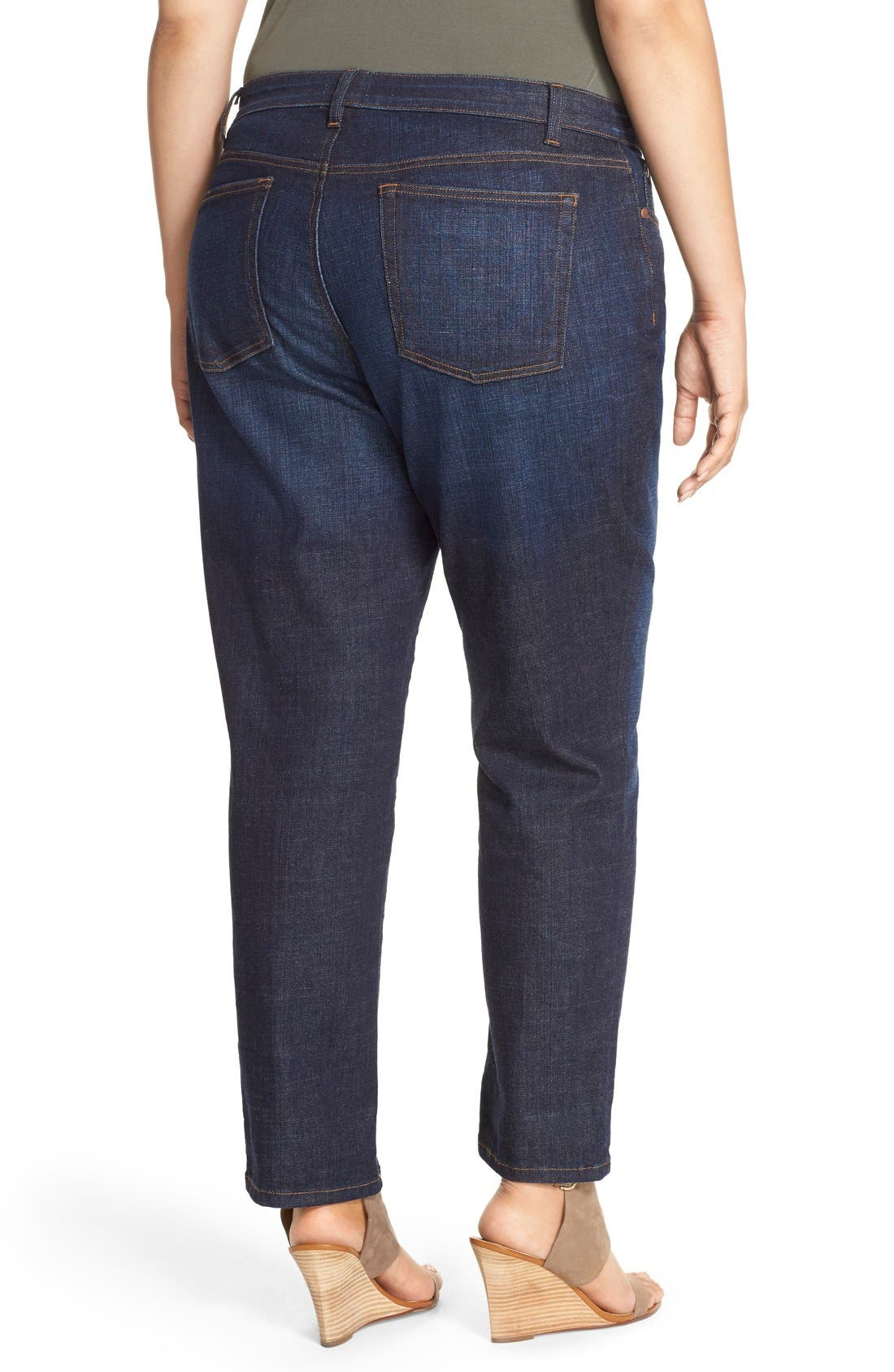 Alternate Image 2  - Eileen Fisher Straight Leg Crop Jeans (Plus Size)