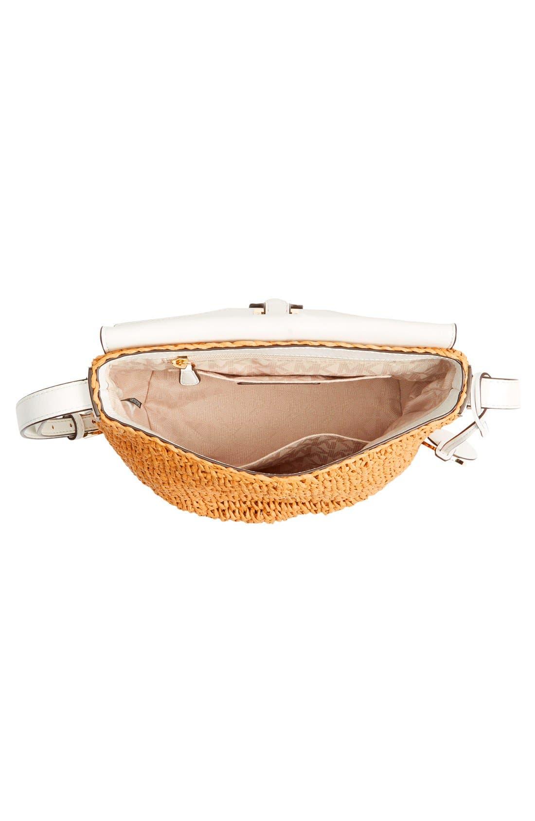 Alternate Image 4  - MICHAEL Michael Kors 'Medium Naomi' Straw & Leather Messenger Bag