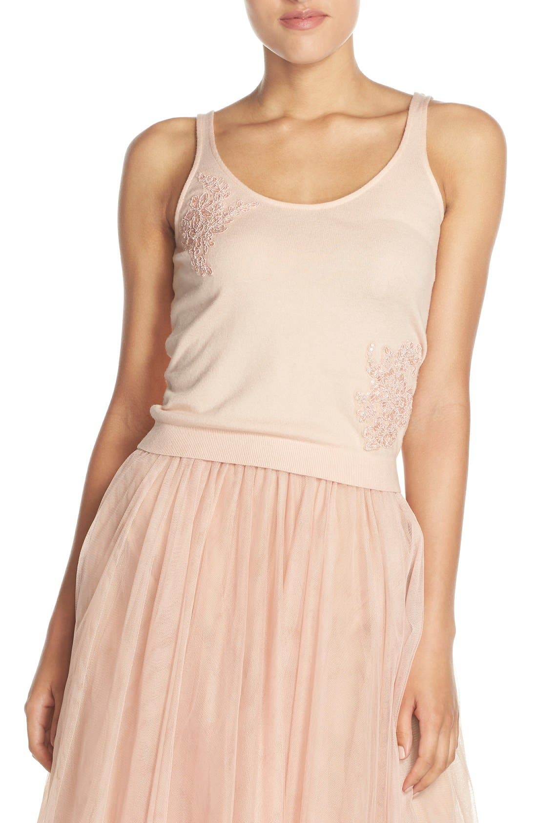 Cora Lace Detail Tank,                         Main,                         color, Blossom