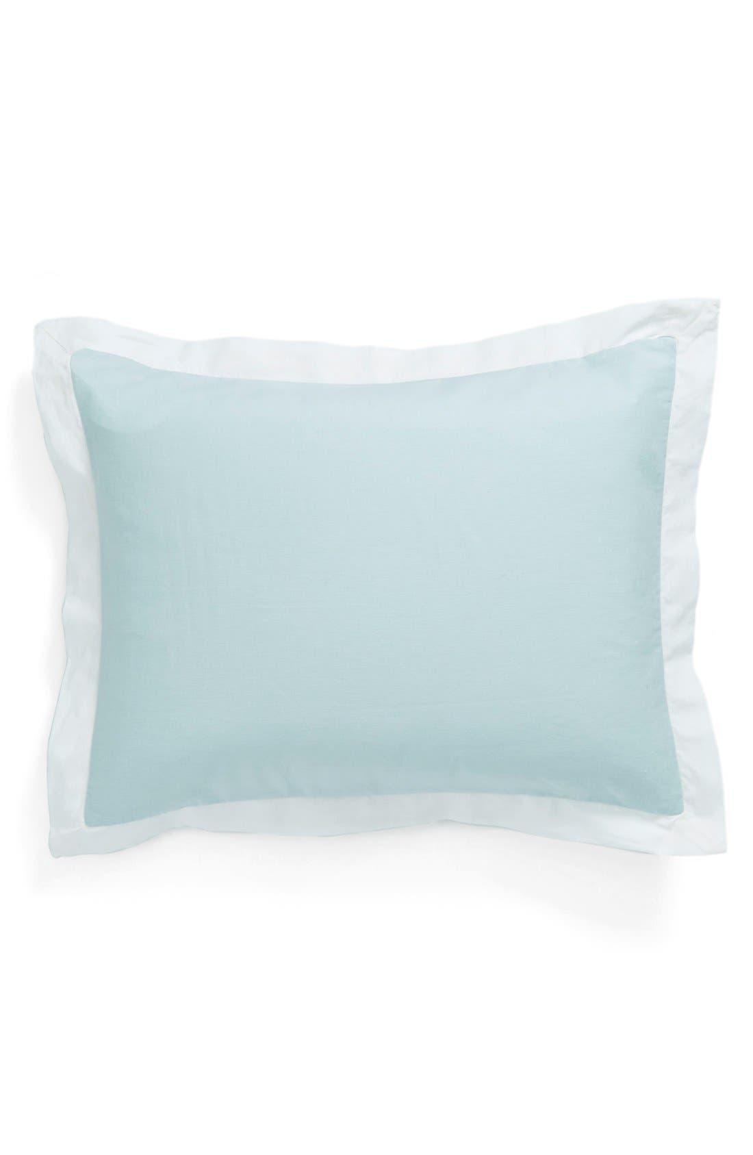 'Spa' Washed Linen Sham,                         Main,                         color, Blue