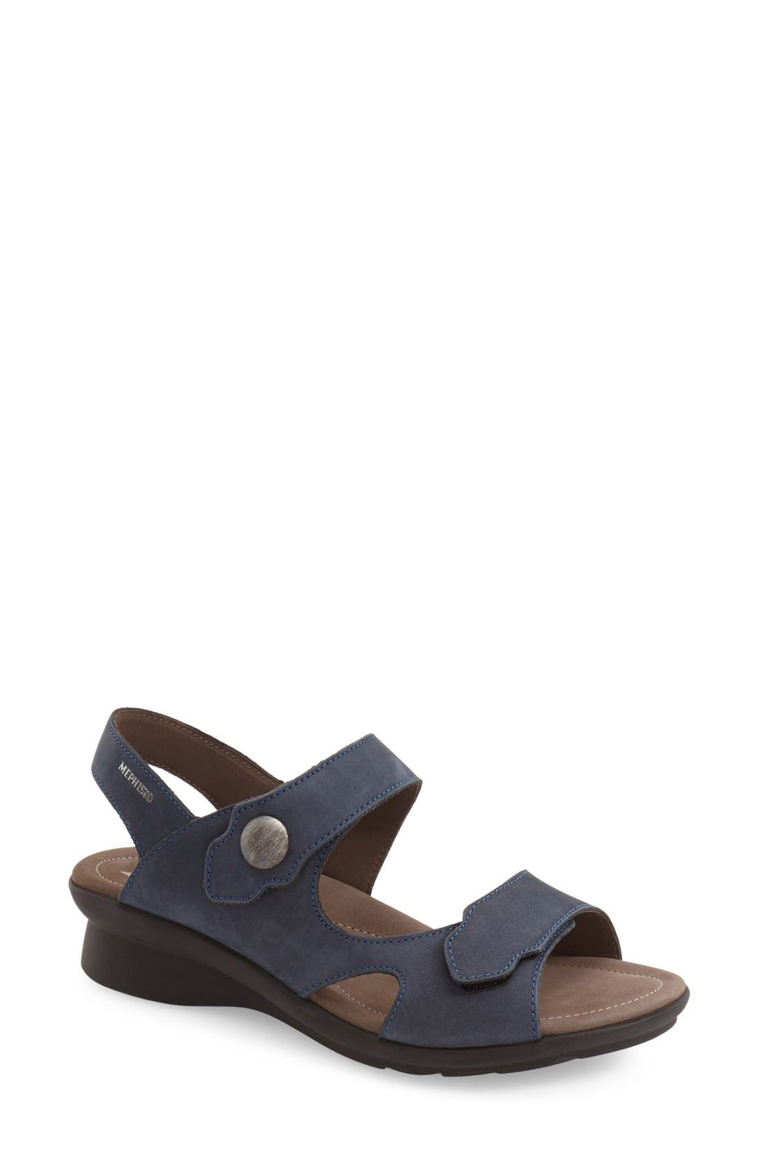 'Prudy' Leather Sandal,                             Main thumbnail 1, color,                             Navy Nubuck Leather