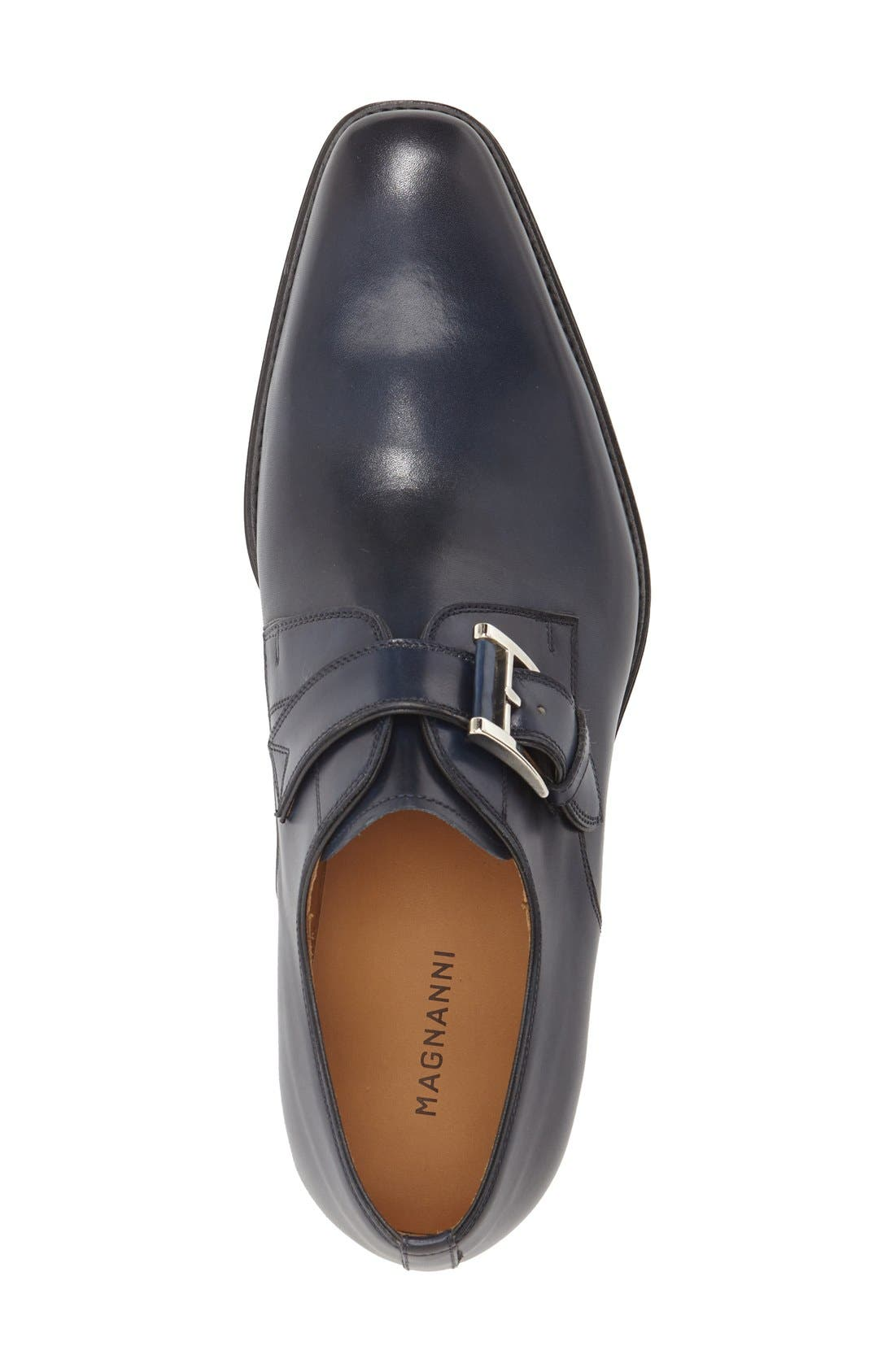 Marco Monk Strap Loafer,                             Alternate thumbnail 3, color,                             Navy Leather