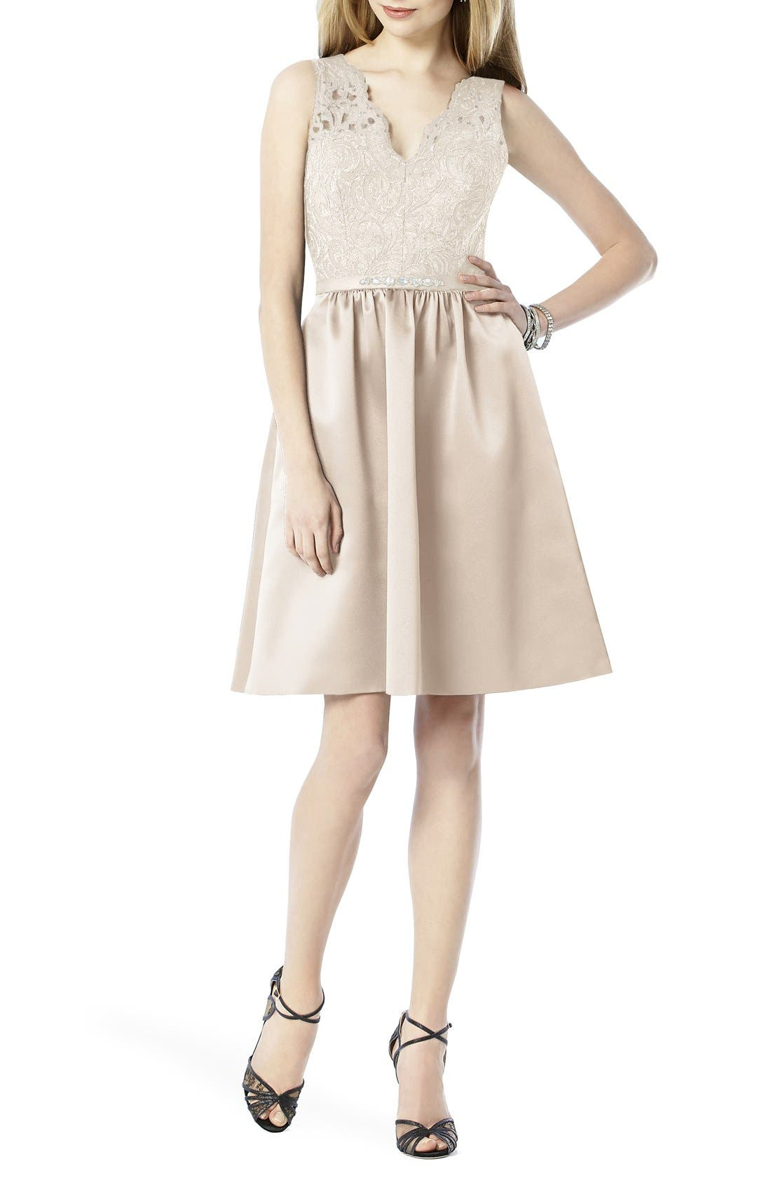 Embellished Lace with Satin Fit & Flare Dress,                         Main,                         color, Ivory Lace/ Cameo
