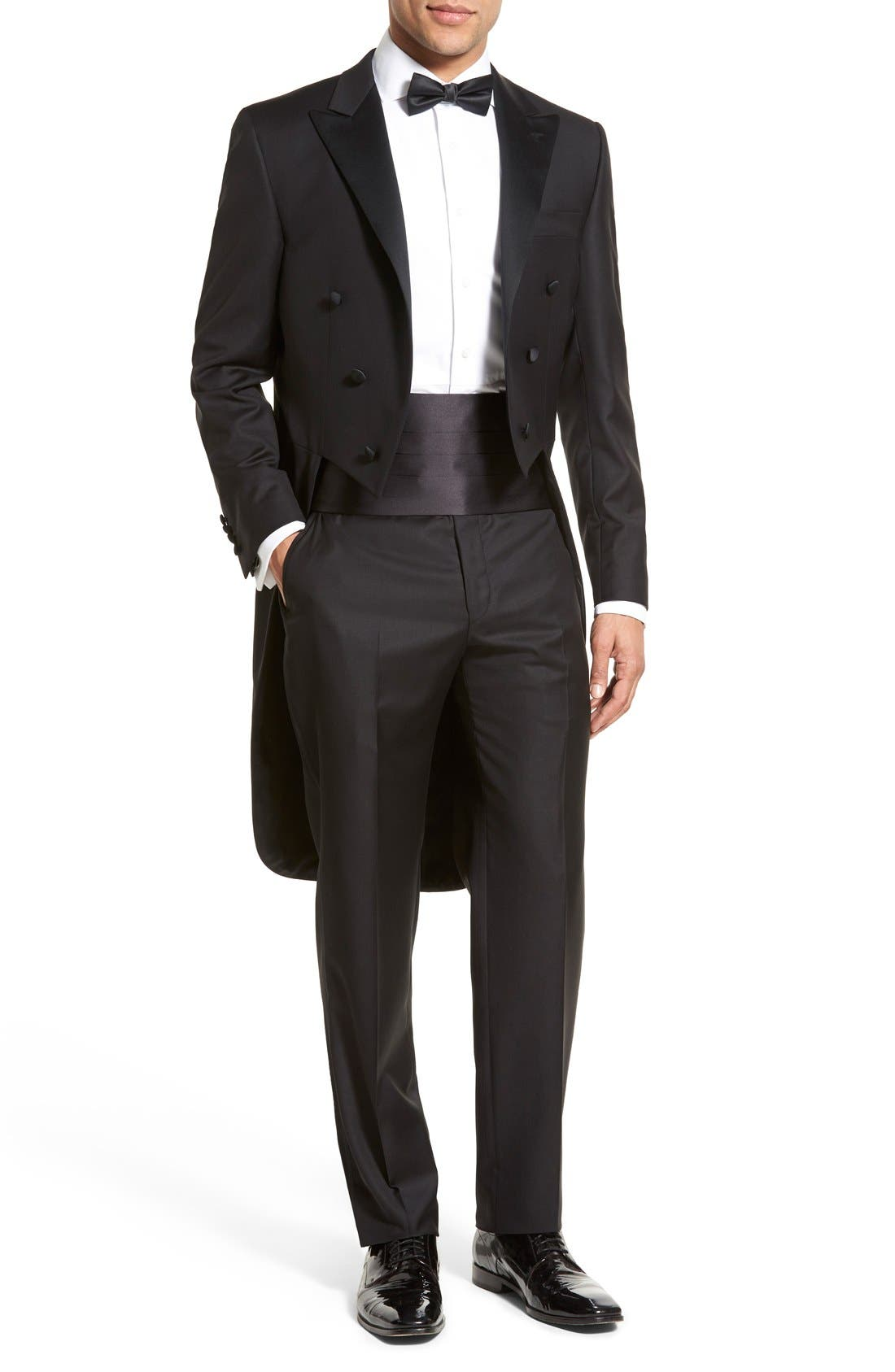 Classic B Fit Tasmanian Wool Tailcoat Tuxedo,                             Main thumbnail 1, color,                             Black
