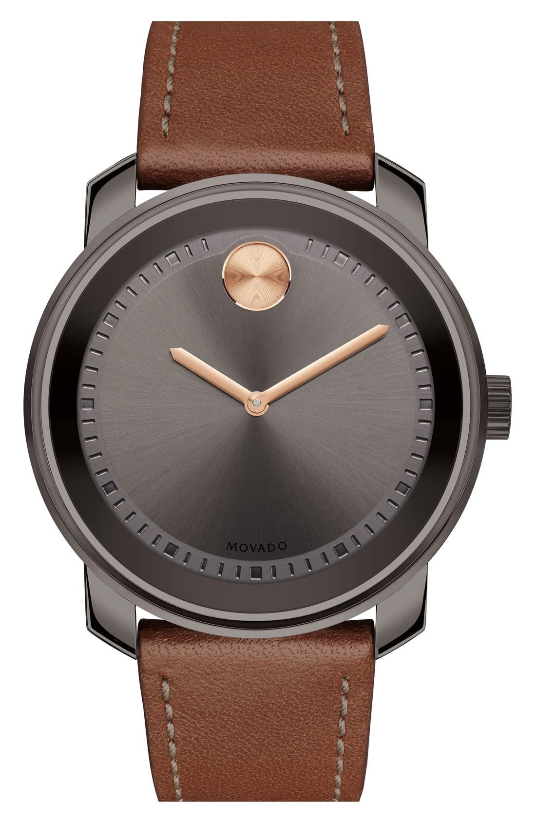 MOVADO Bold Leather Strap Watch, 43mm