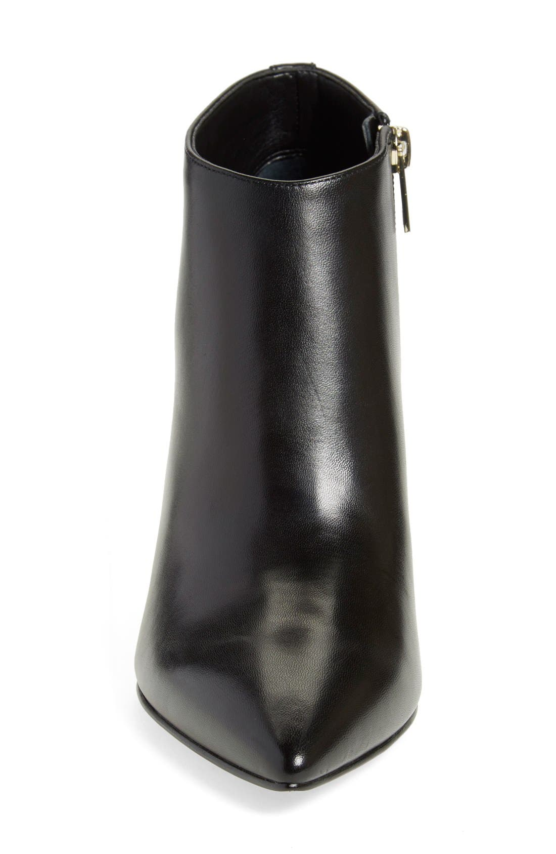 'Lettie' Pointy Toe Bootie,                             Alternate thumbnail 3, color,                             Black Leather