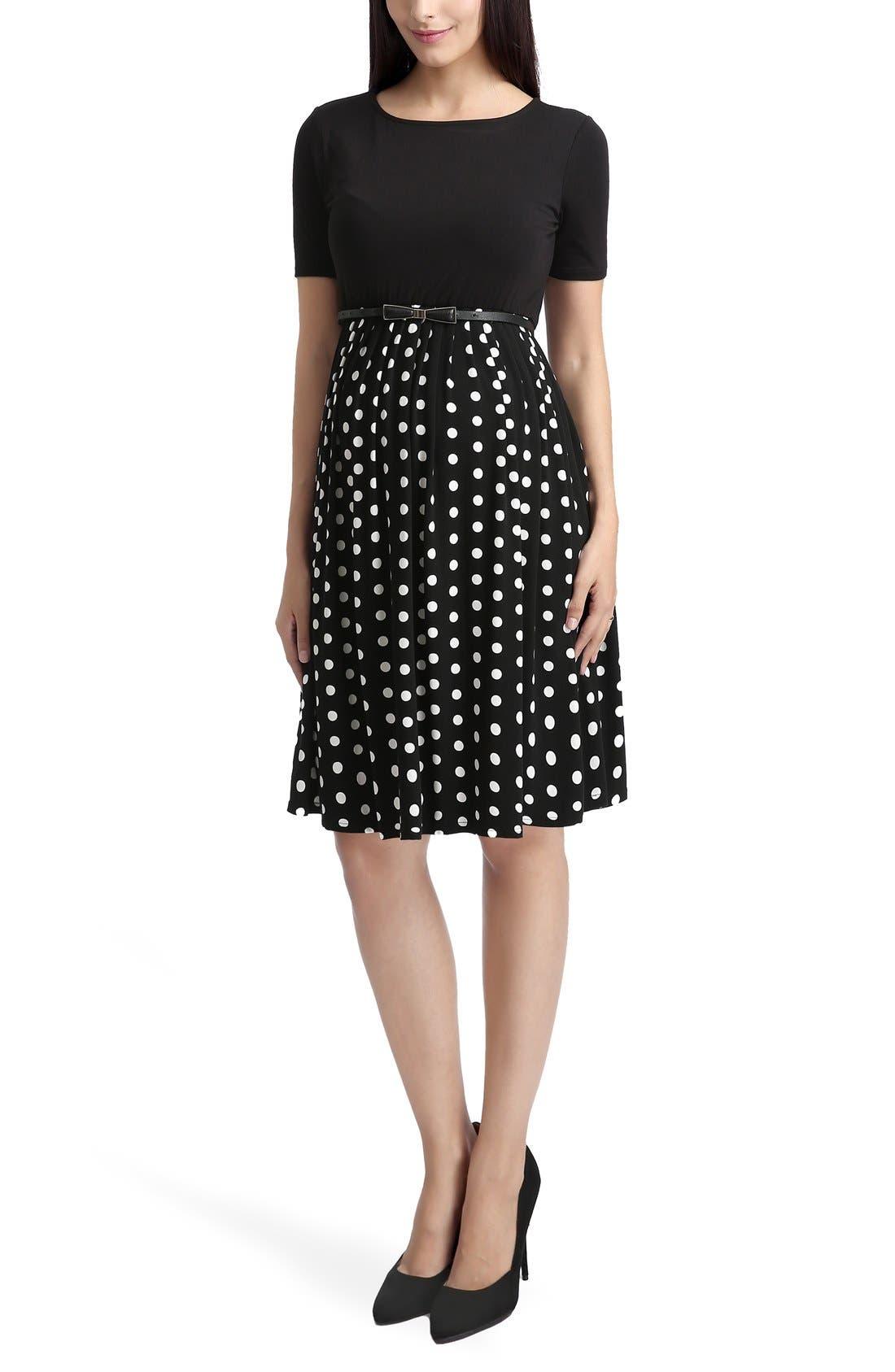 'Emmy' Polka Dot Maternity Dress,                             Main thumbnail 1, color,                             Black