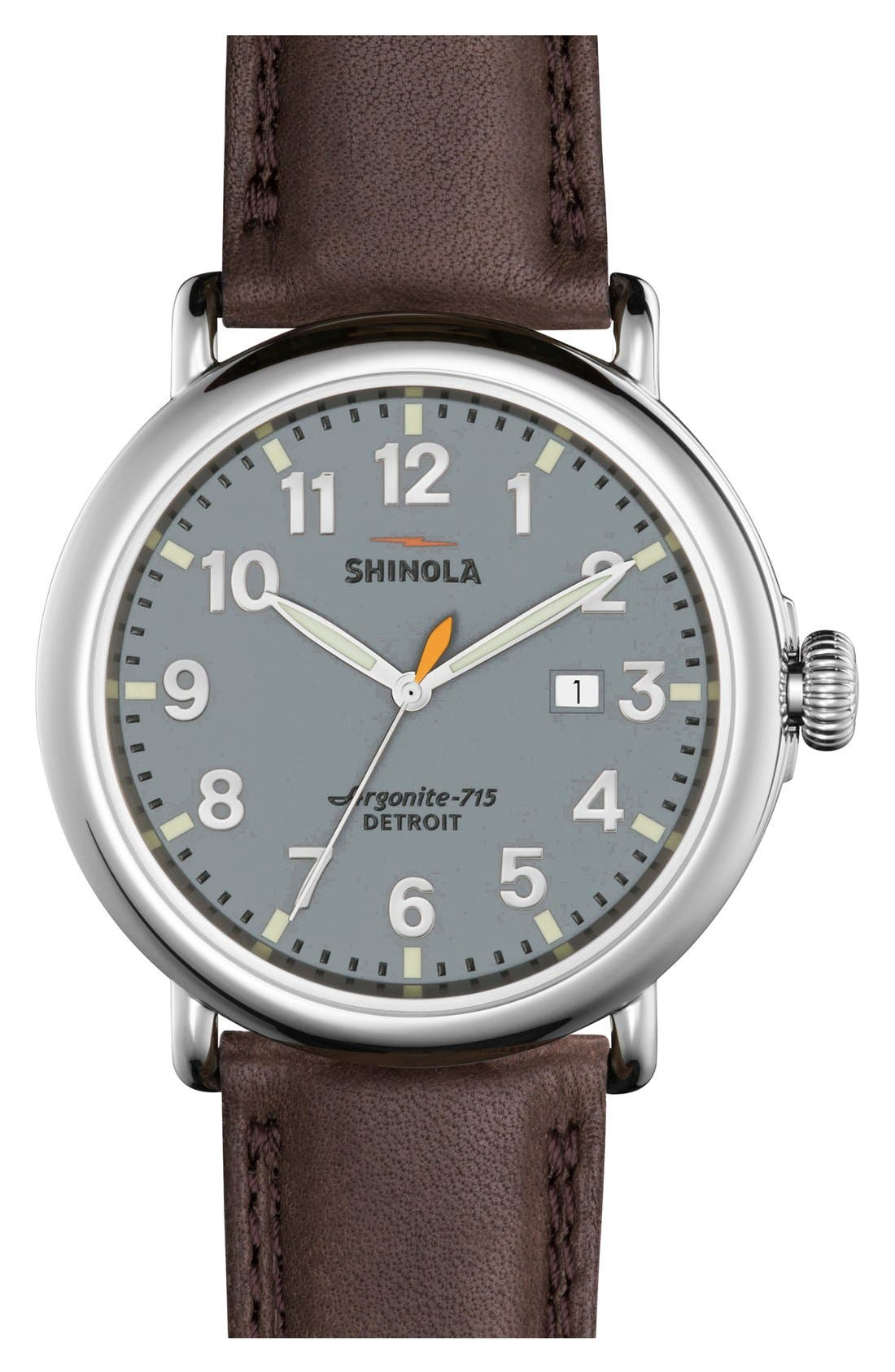 'The Runwell' Leather Strap Watch, 47mm,                         Main,                         color, Deep Brown/ Slate Blue