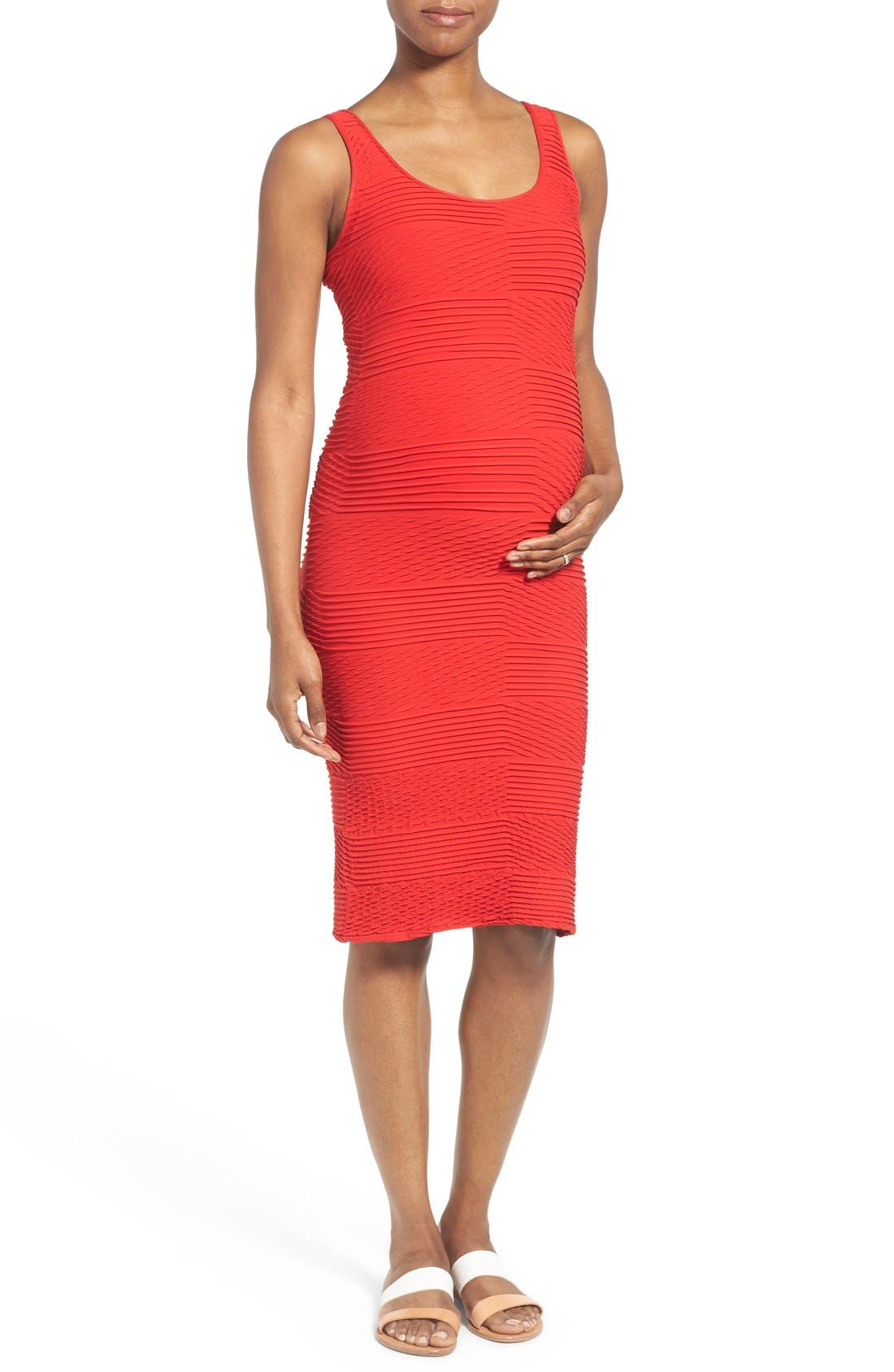 Textured Tank Maternity Dress,                         Main,                         color, Fire Engine Red