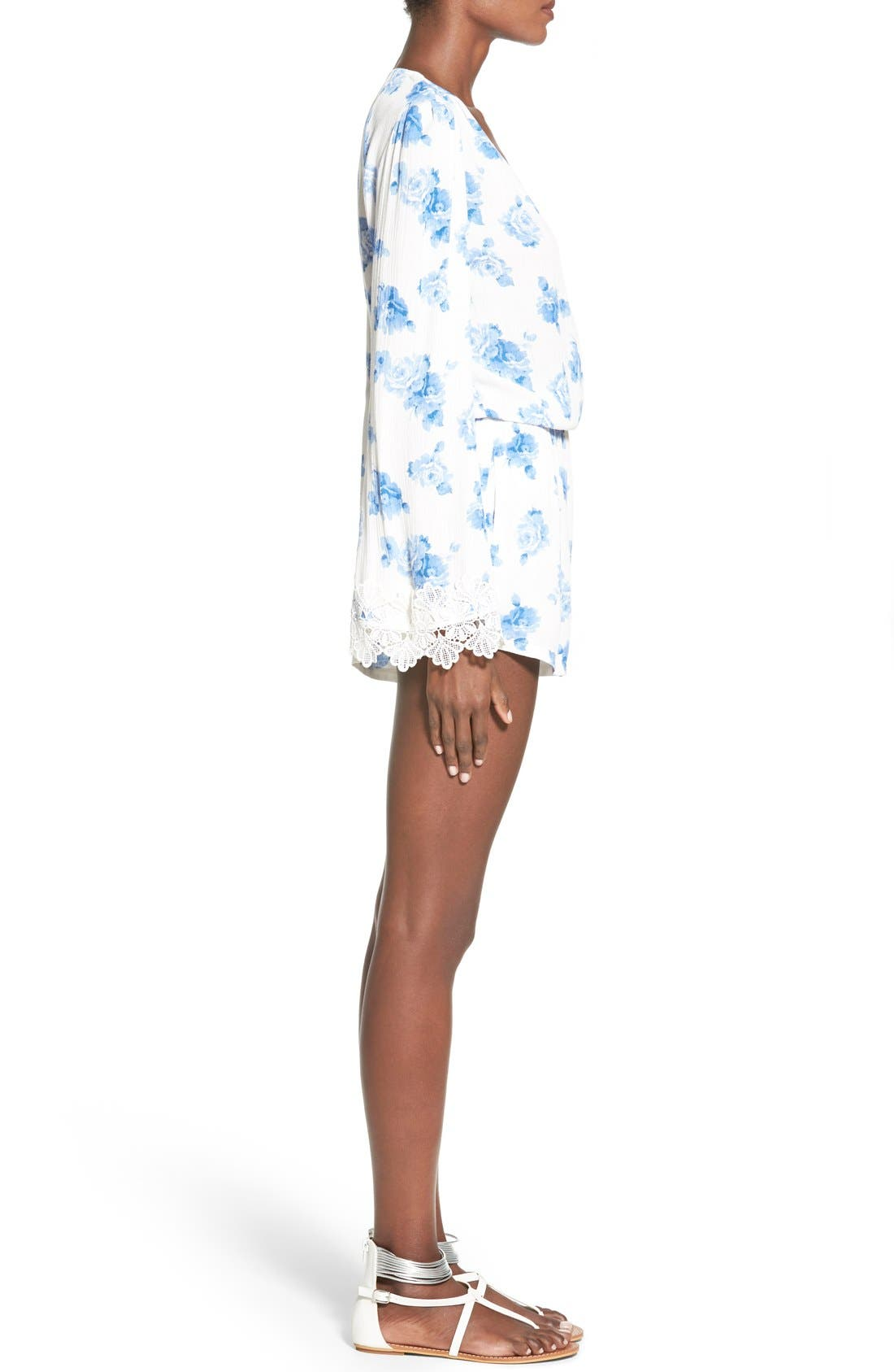 Alternate Image 3  - Mimi Chica Floral Print Bell Sleeve Romper