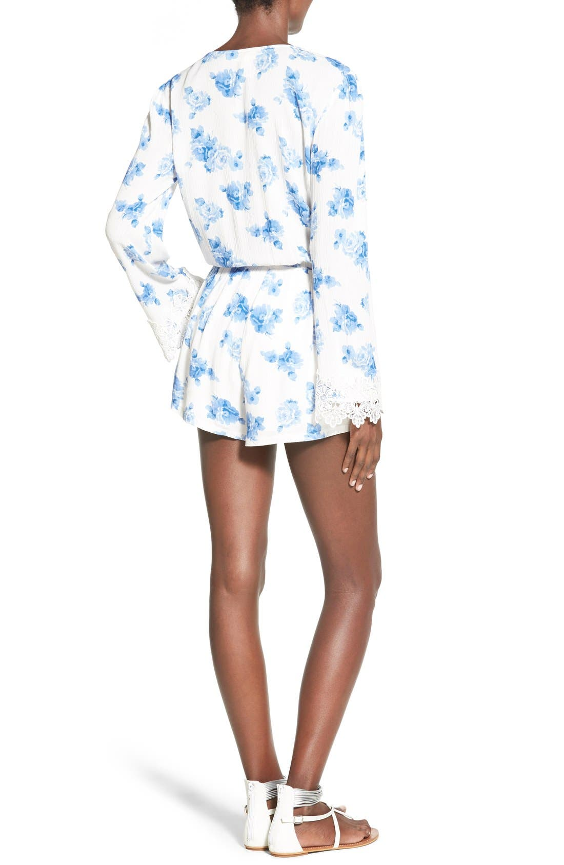 Alternate Image 2  - Mimi Chica Floral Print Bell Sleeve Romper