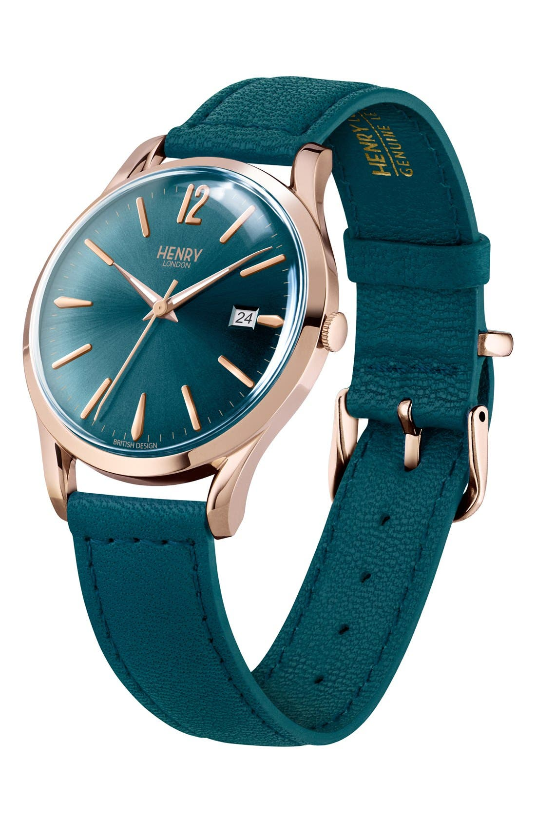 'Stratford' Leather Strap Watch, 38mm,                             Alternate thumbnail 3, color,                             Teal/ Teal