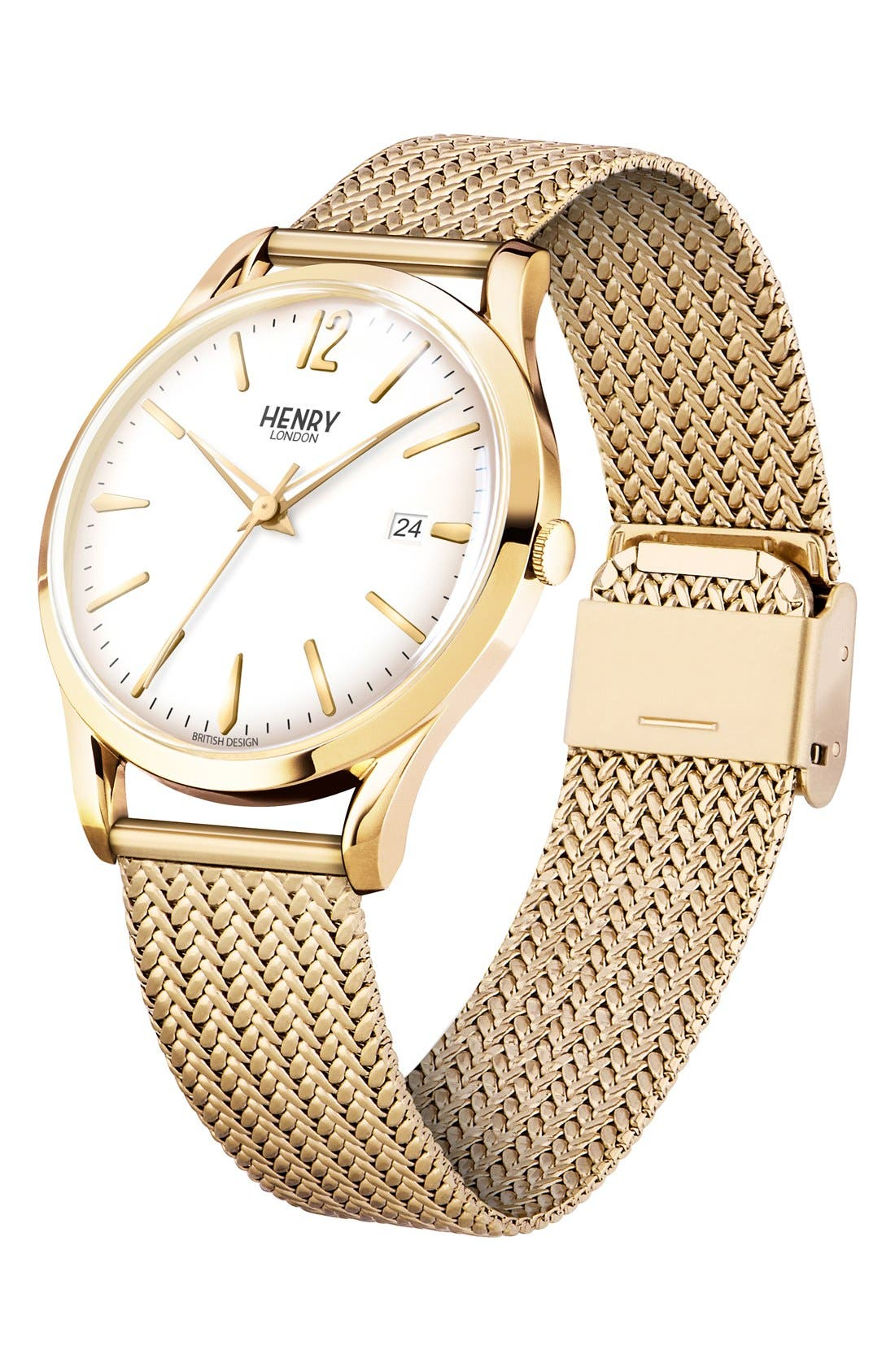 'Westminster' Mesh Strap Watch, 38mm,                             Alternate thumbnail 3, color,                             Gold/ White