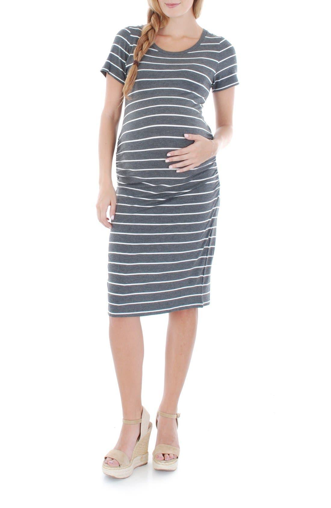 'Camila' Stripe Maternity Dress,                         Main,                         color, Charcoal Stripe