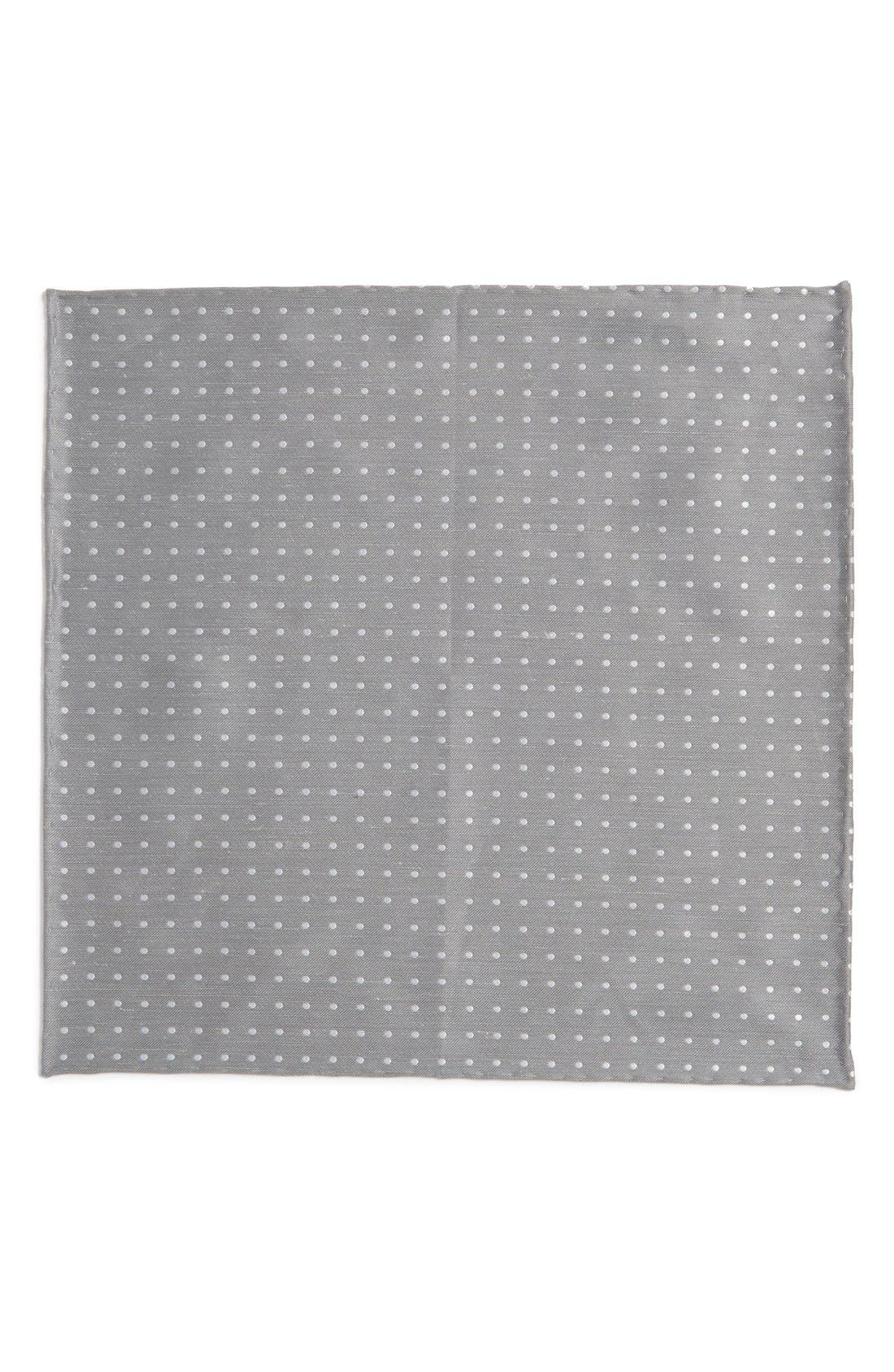 Dot Silk & Linen Pocket Square,                             Alternate thumbnail 2, color,                             Silver