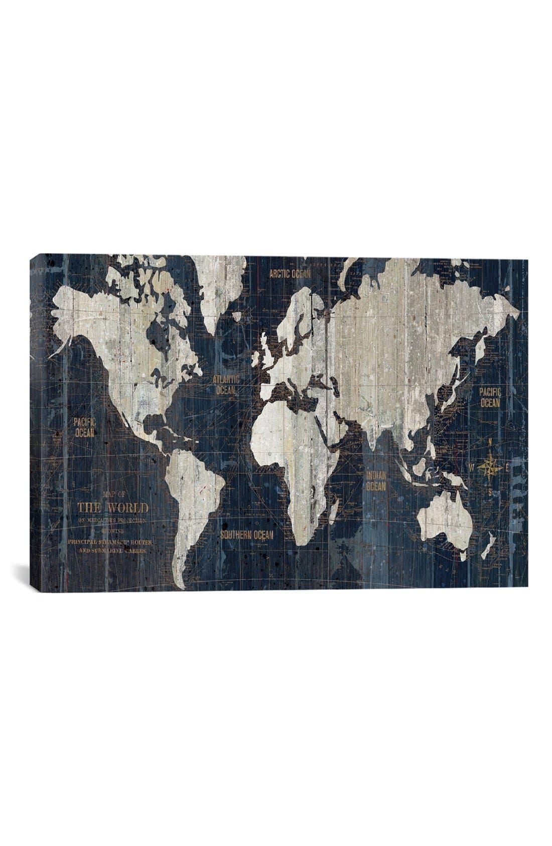 'Old World Map' Giclée Print Canvas Art,                         Main,                         color, Blue