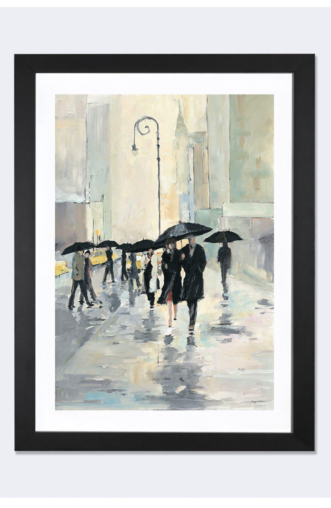 'City in the Rain' Framed Fine Art Print,                             Main thumbnail 1, color,                             Black